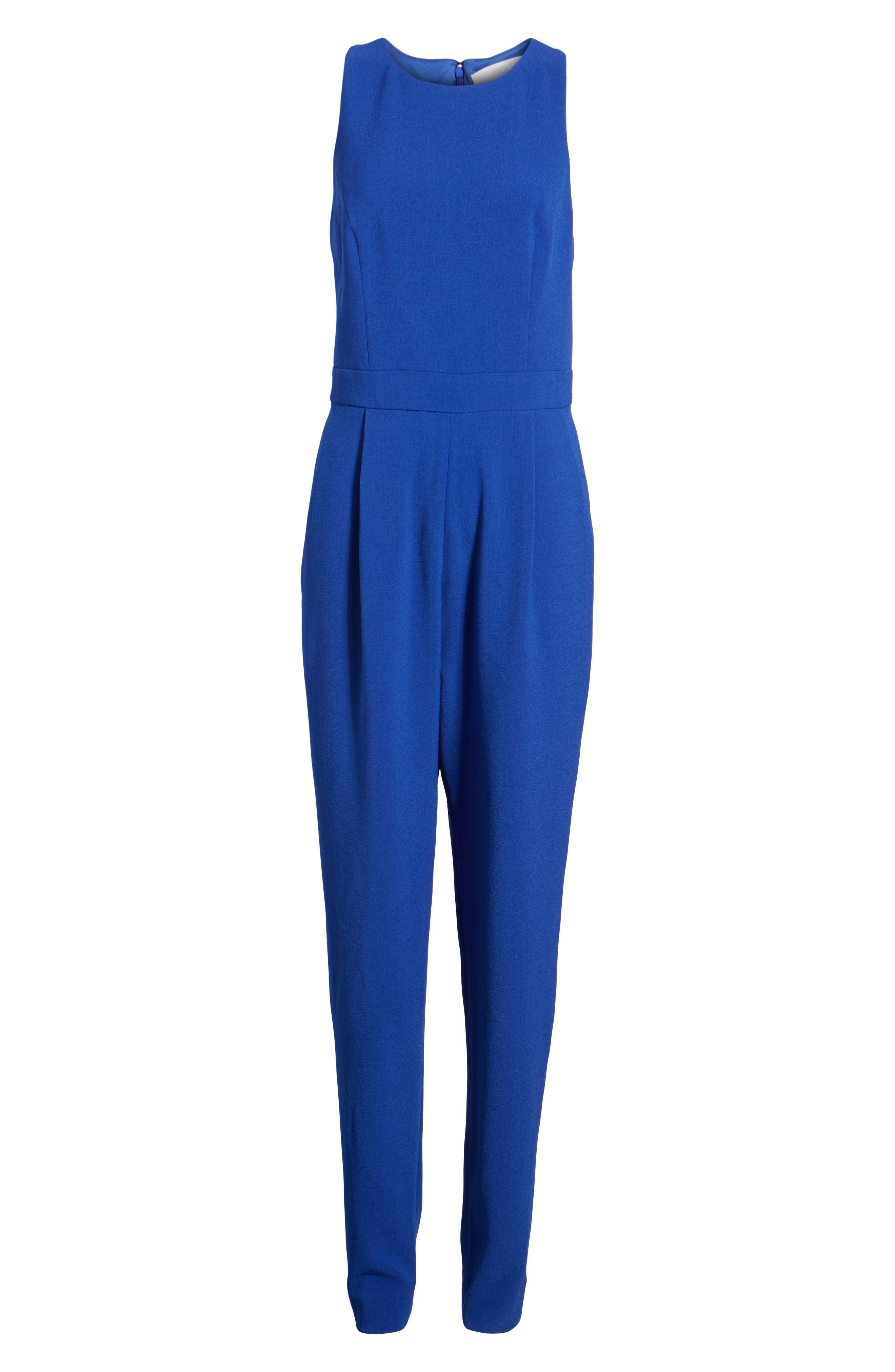 Bow Back Jumpsuit,                             Alternate thumbnail 7, color,                             Blue Mazarine