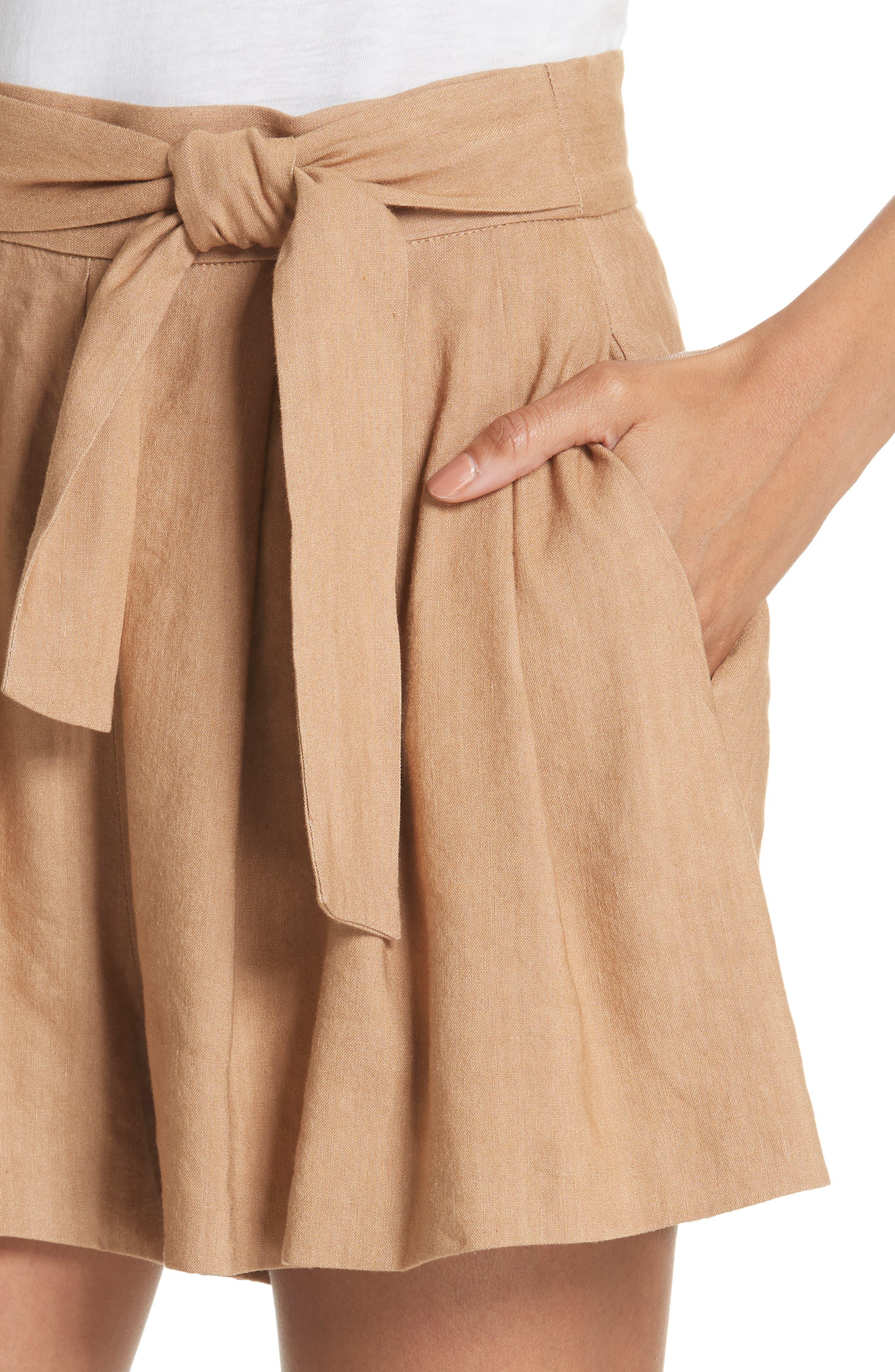 Dawson Flutter Tie Waist Linen Blend Shorts,                             Alternate thumbnail 4, color,                             Tan