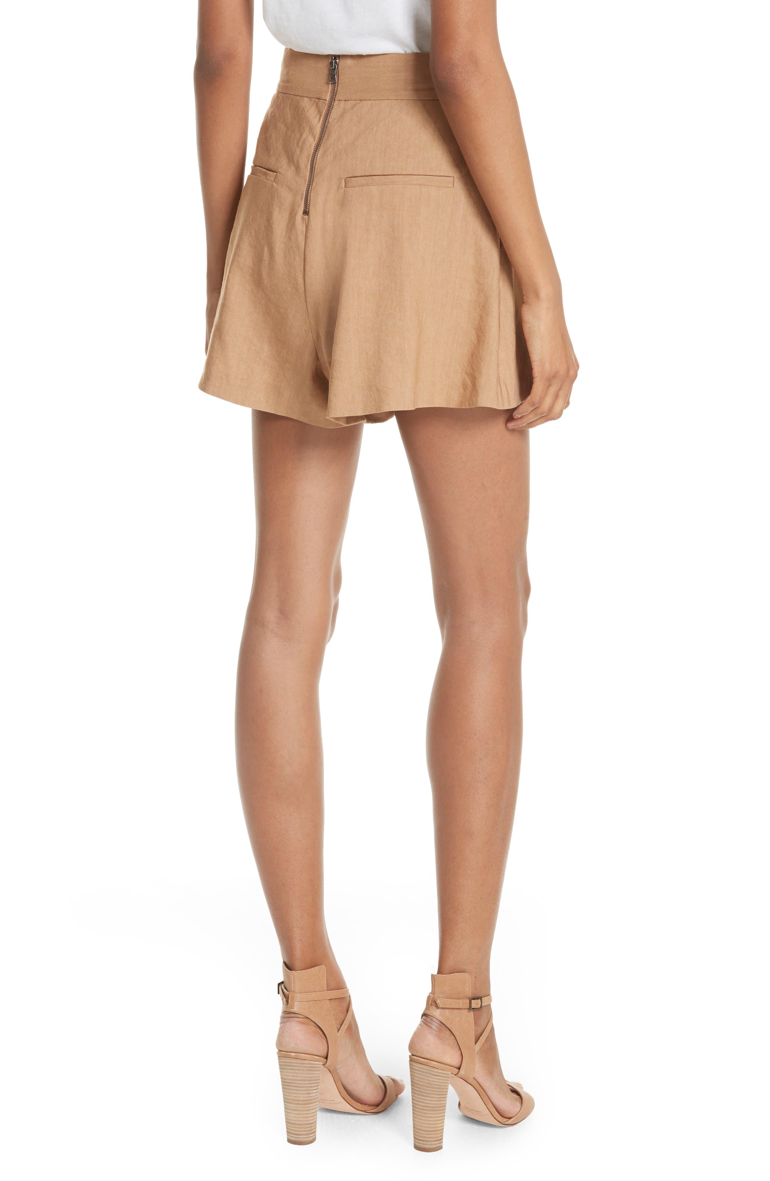 Dawson Flutter Tie Waist Linen Blend Shorts,                             Alternate thumbnail 2, color,                             Tan