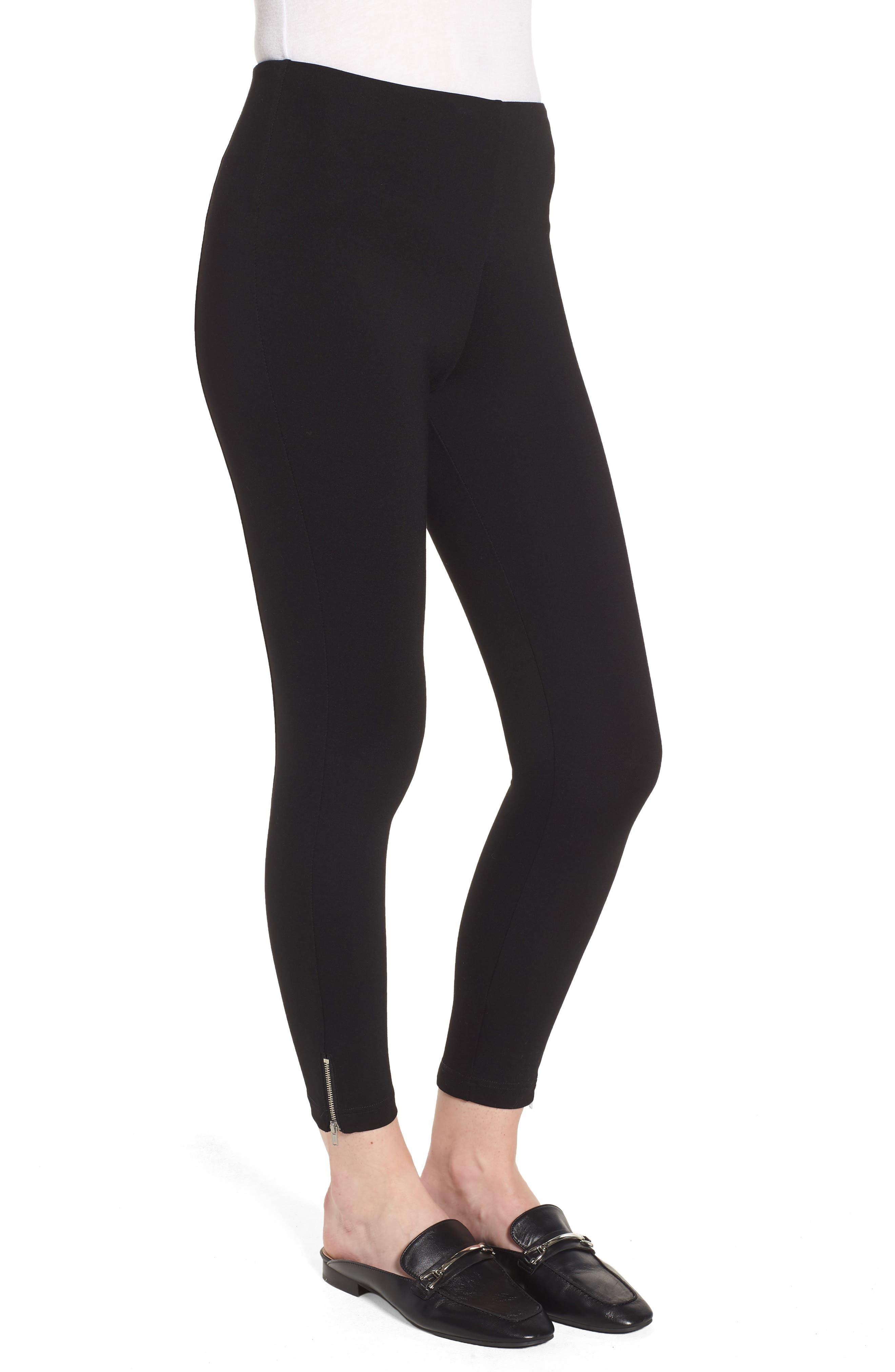 Mini Zip Crop Leggings,                             Alternate thumbnail 3, color,                             Black