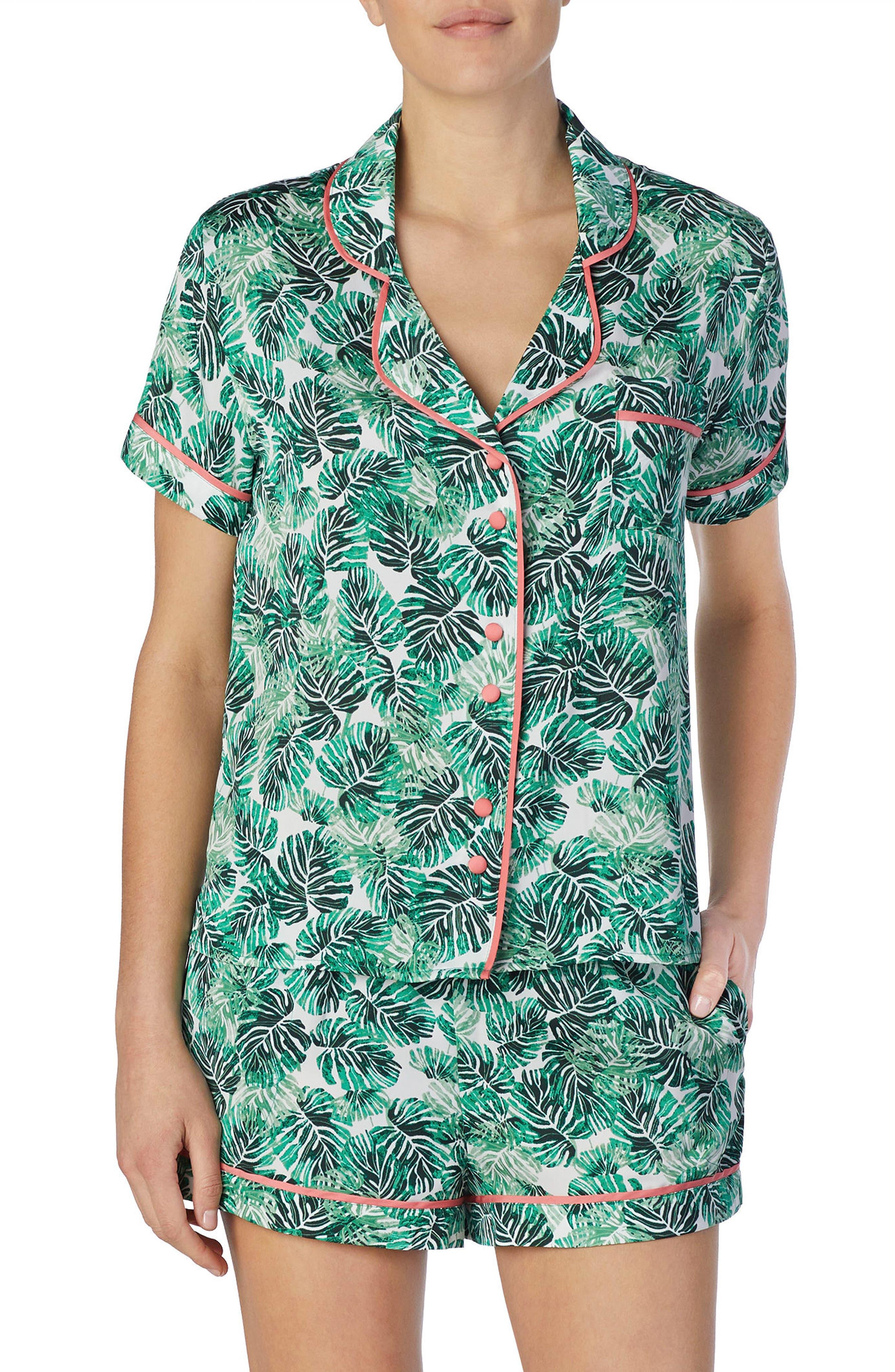 Short Satin Pajamas,                         Main,                         color, Cameo Jungle Palm
