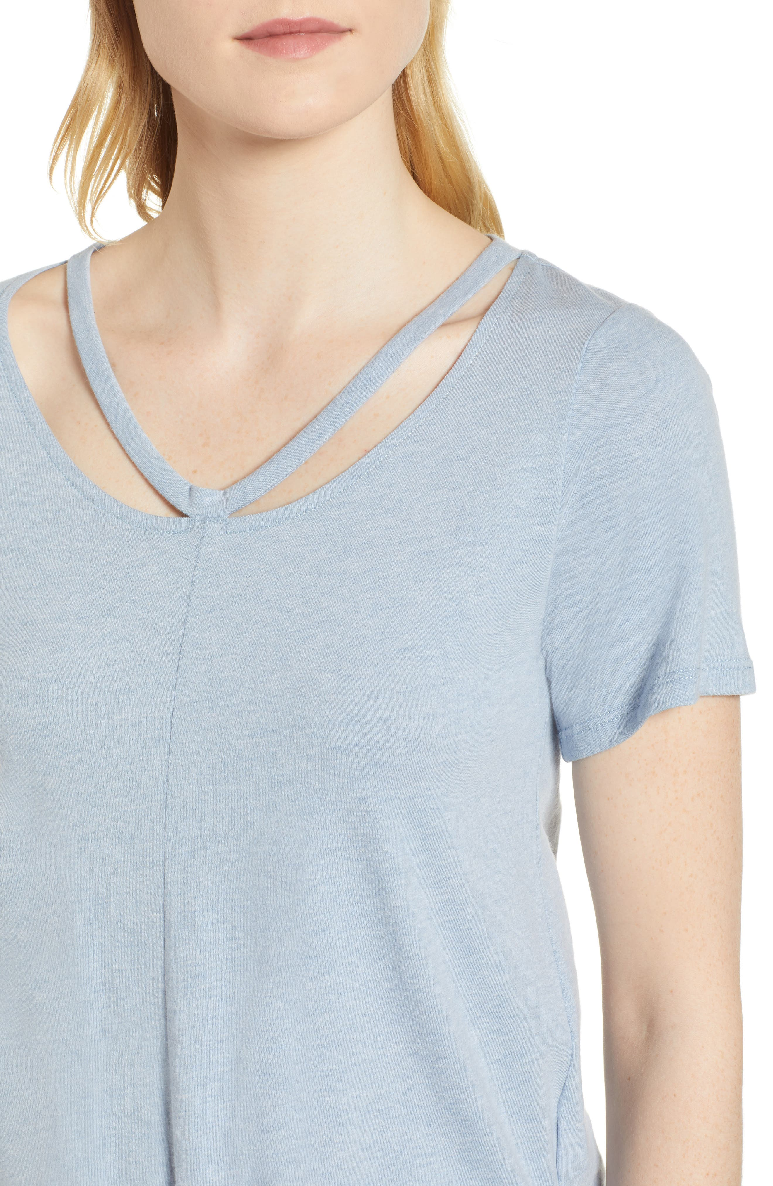 Cutout Neck Front Tie Tee,                             Alternate thumbnail 4, color,                             Washed Blue