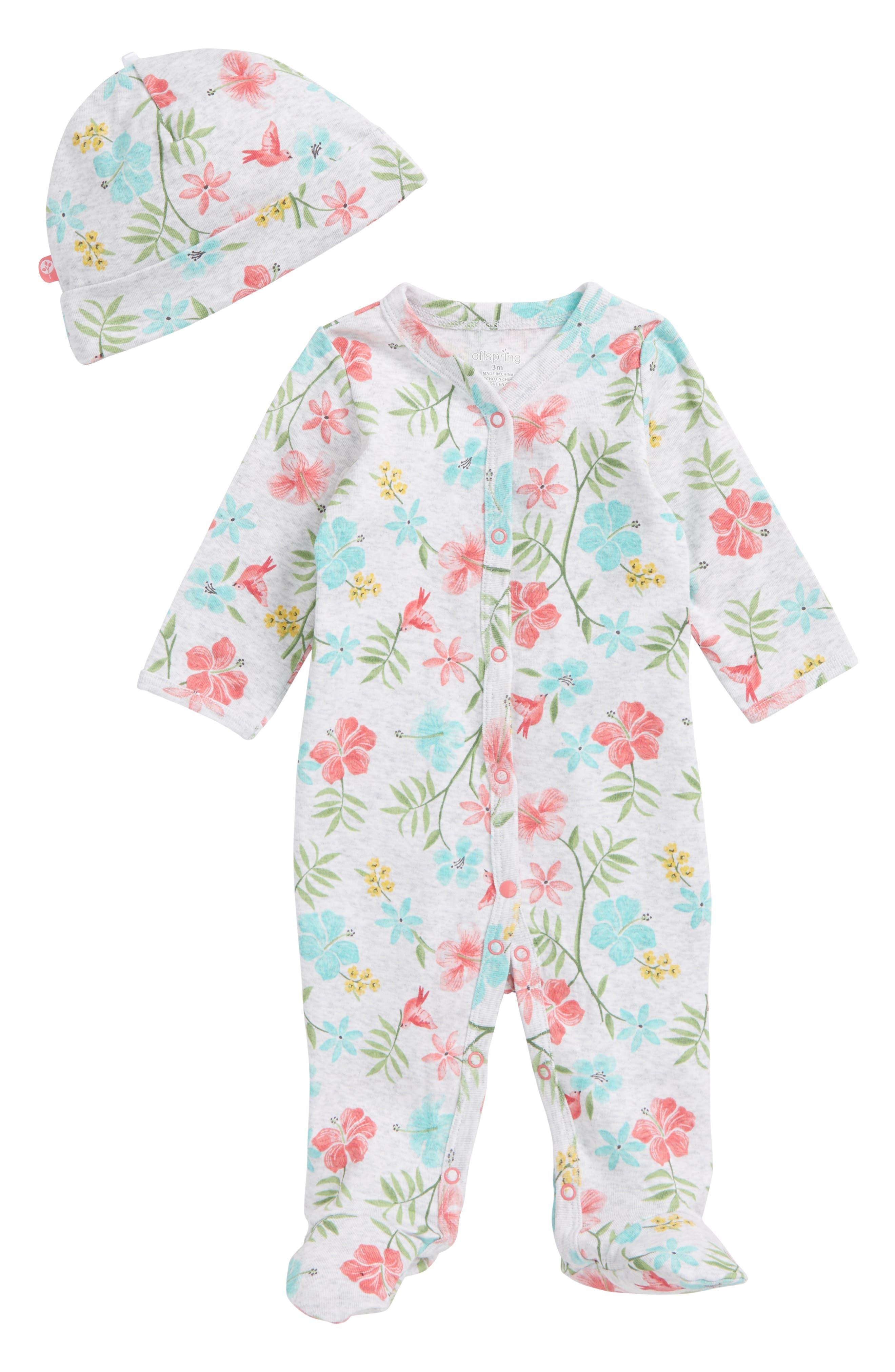Tropical Floral Footie & Hat Set,                             Main thumbnail 1, color,                             Floral