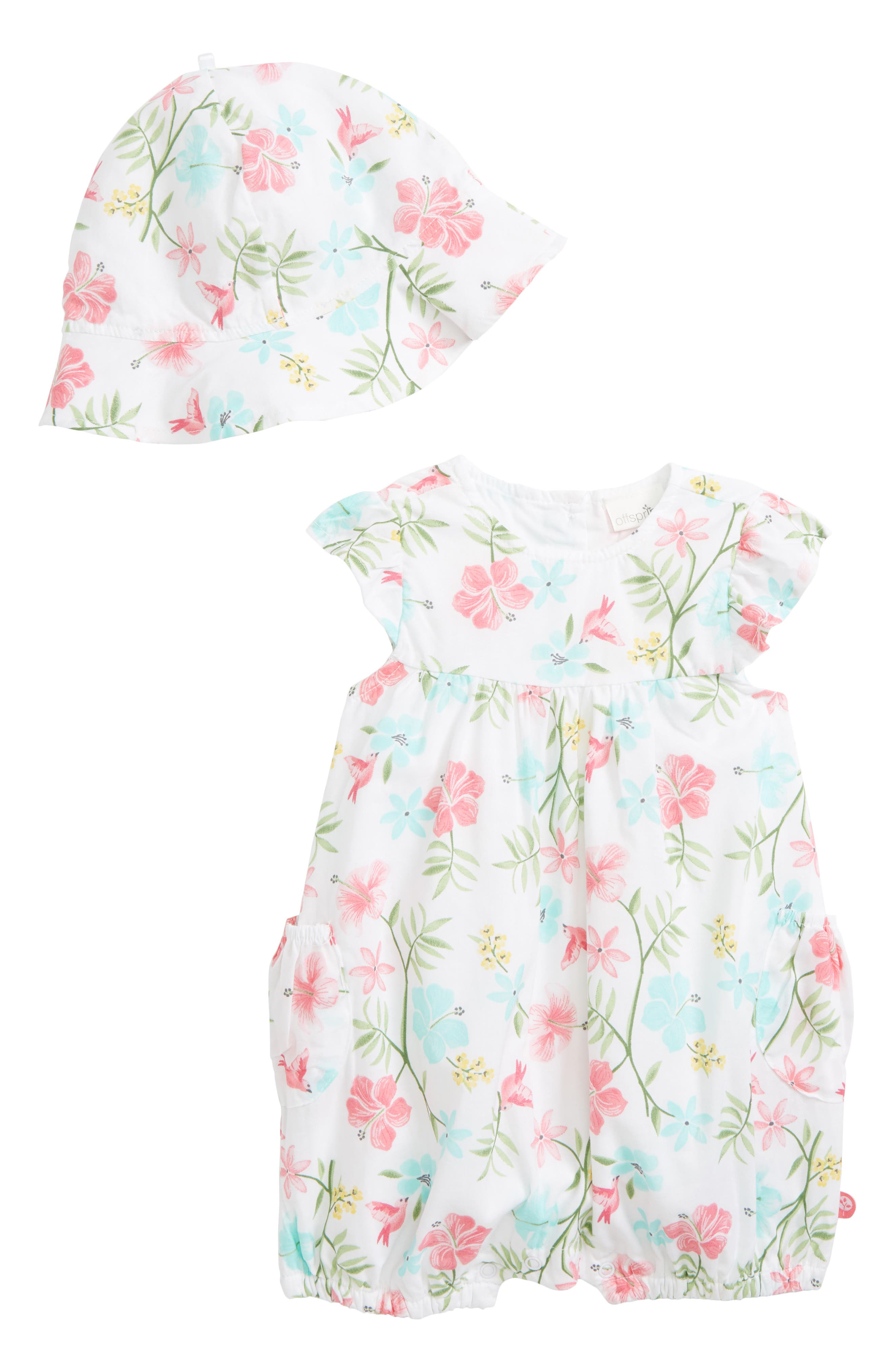 Offspring Tropical Floral Bubble Romper & Hat Set (Baby Girls)