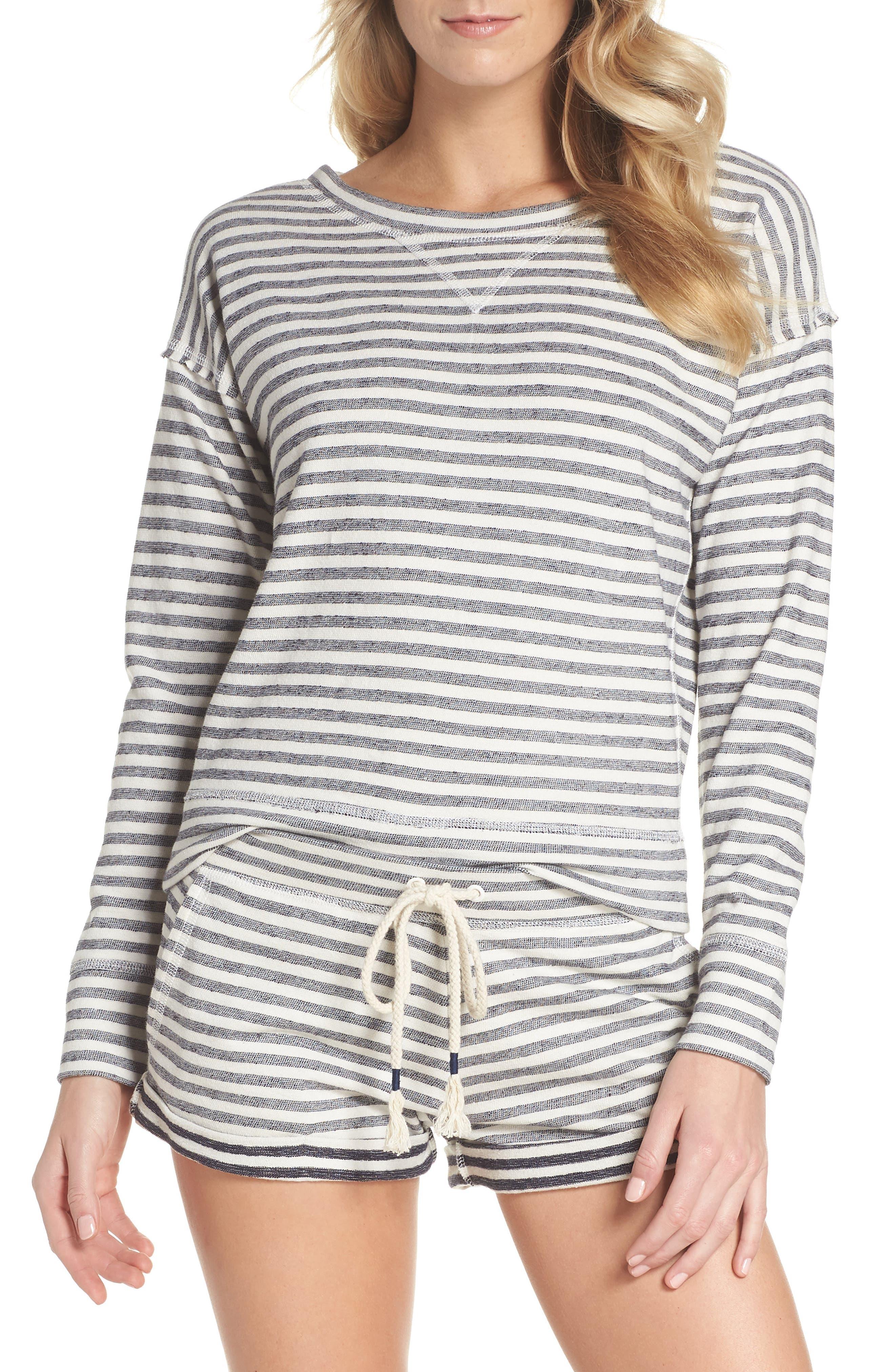Stripe Pajama Shorts,                             Alternate thumbnail 4, color,                             Ivory/ Navy Stripe