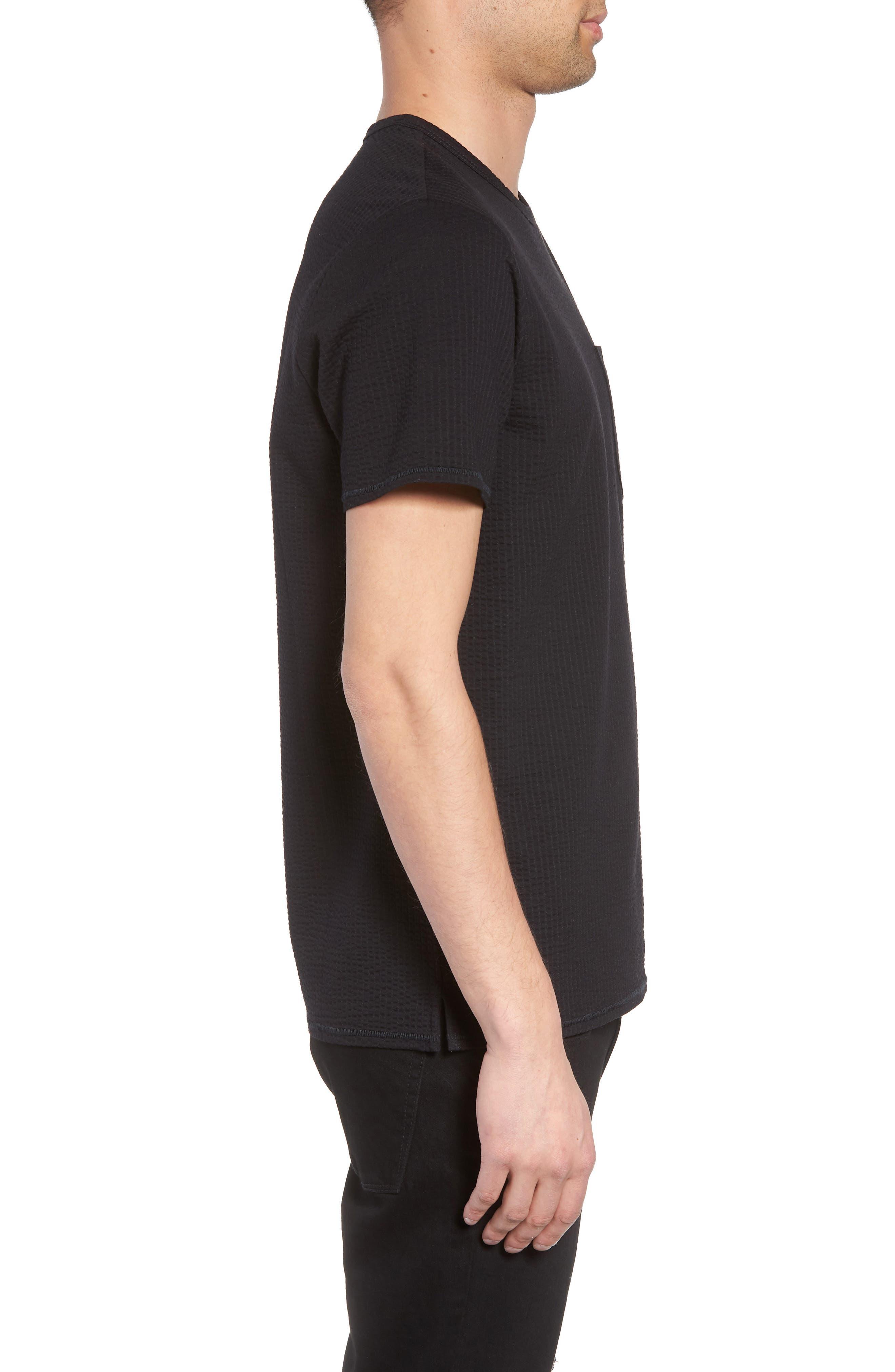 Japanese Seersucker T-Shirt,                             Alternate thumbnail 3, color,                             Black Seersucker
