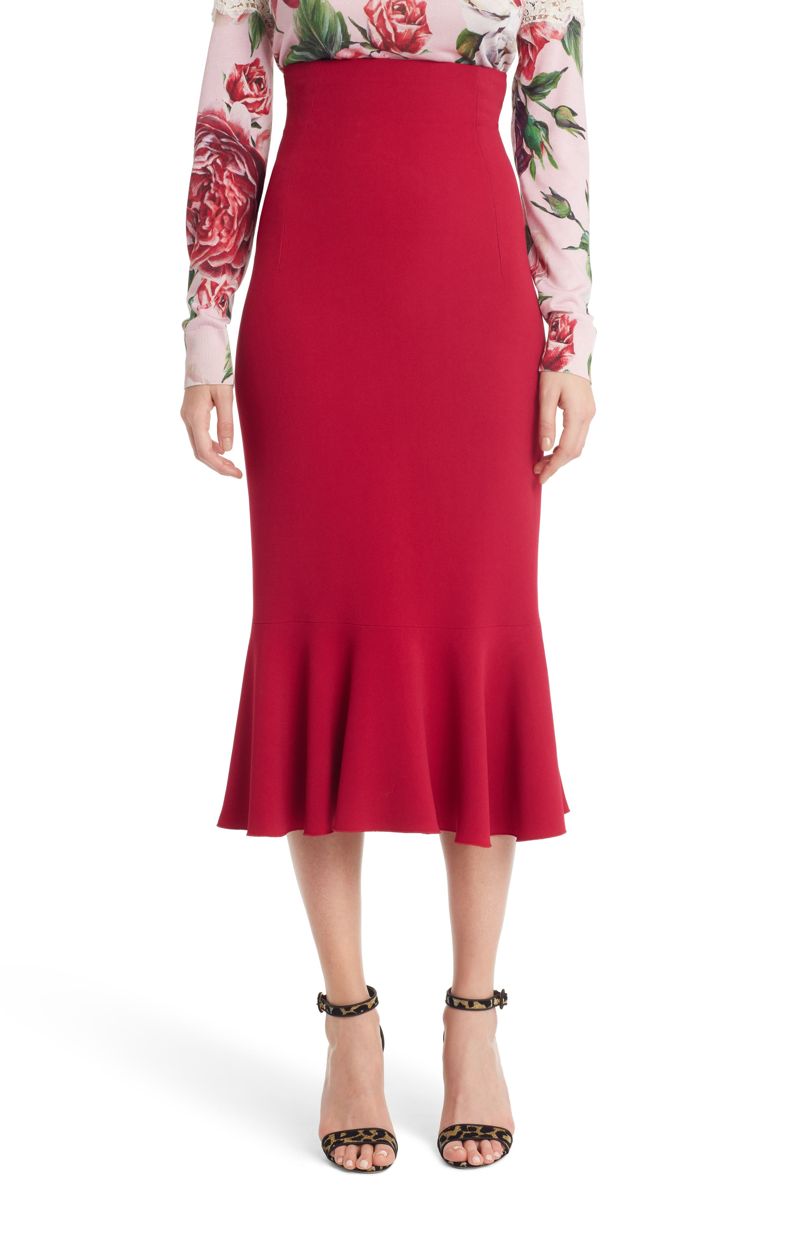 Dolce&Gabbana Ruffle Hem Cady Pencil Skirt