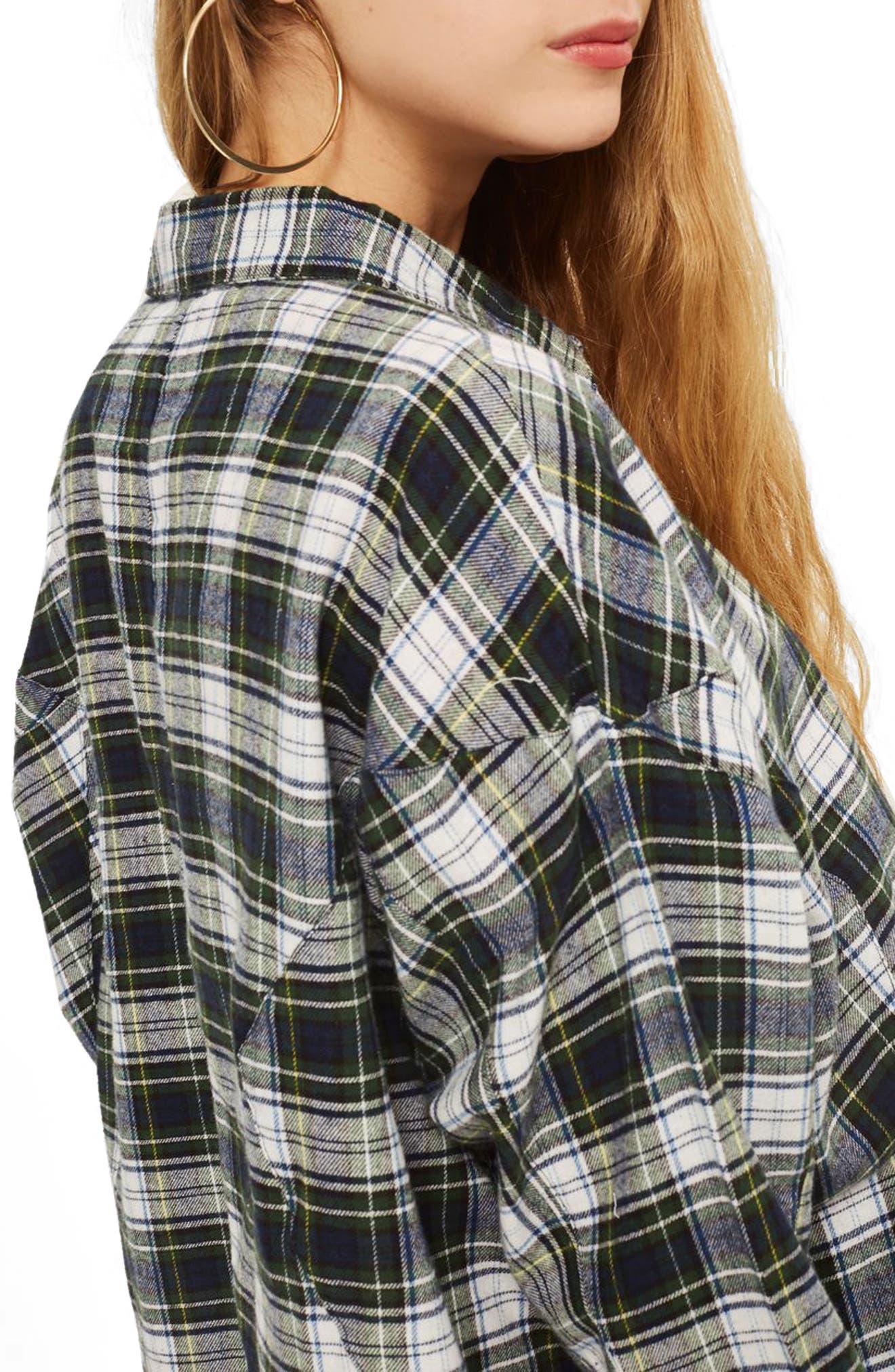 Boxy Plaid Shirt,                             Alternate thumbnail 2, color,                             Green Multi