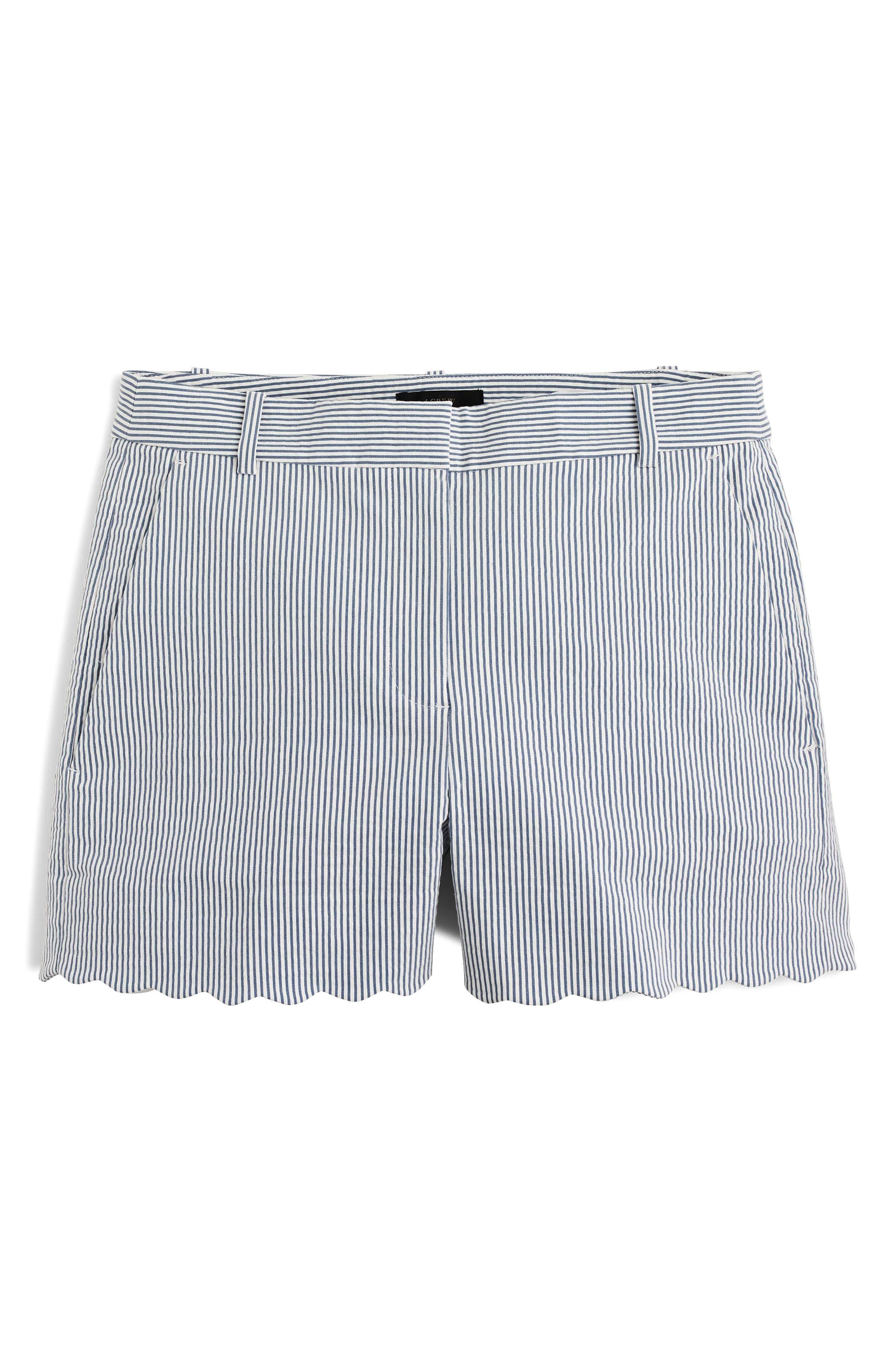 J.Crew Fiesta Seersucker Scallop Hem Shorts,                             Alternate thumbnail 2, color,                             Blue White