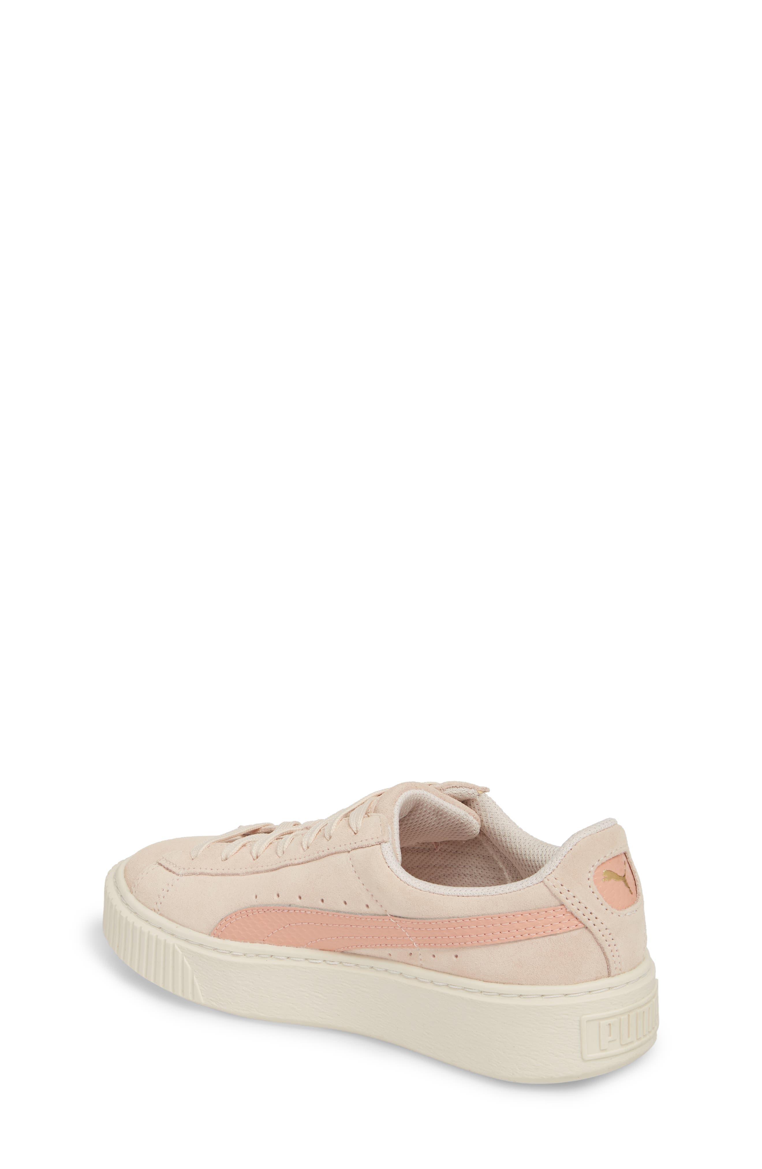 Suede Platform Jr Sneaker,                             Alternate thumbnail 2, color,                             Pearl/ Peach Beige
