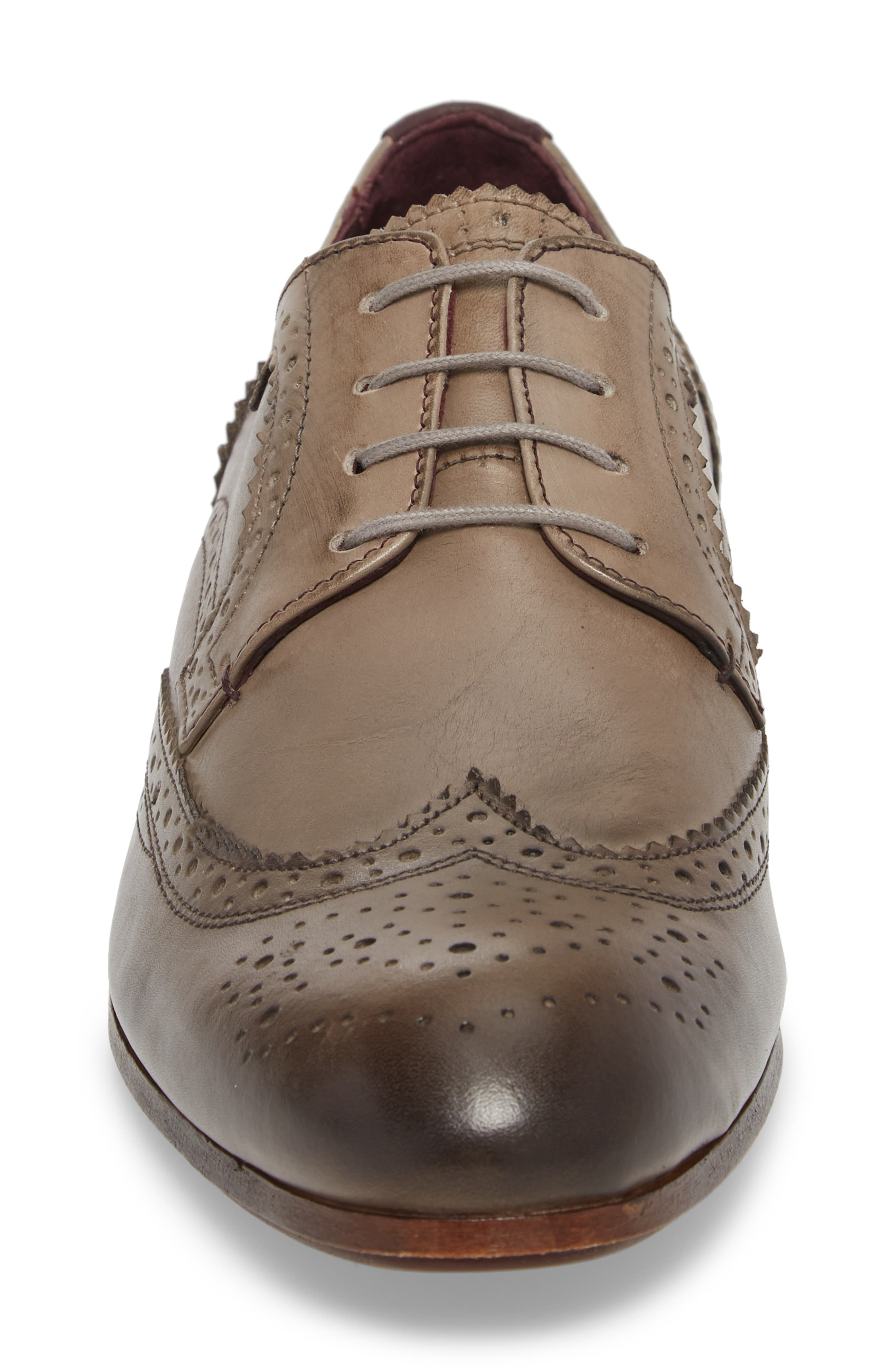 Granet Wingtip,                             Alternate thumbnail 4, color,                             Grey Leather