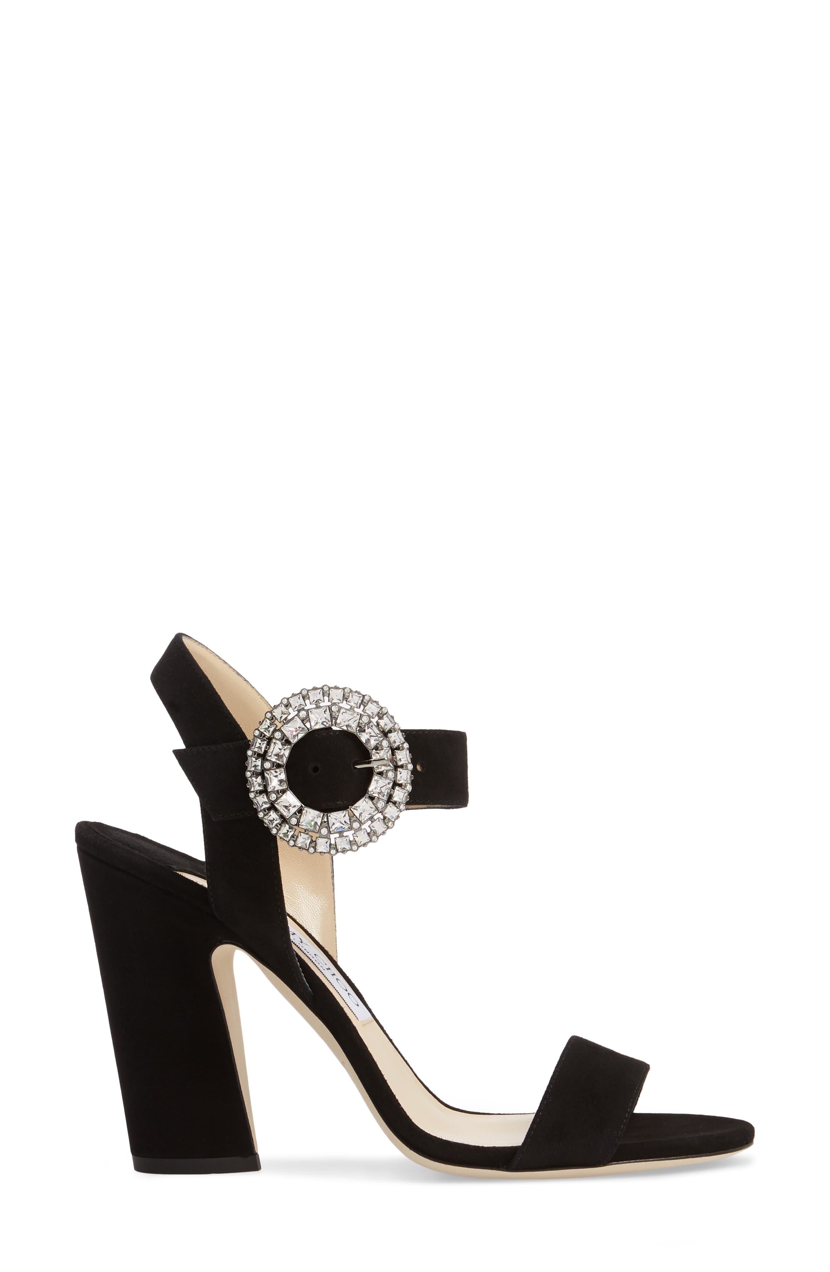 Mischa Crystal Buckle Sandal,                             Alternate thumbnail 3, color,                             Black