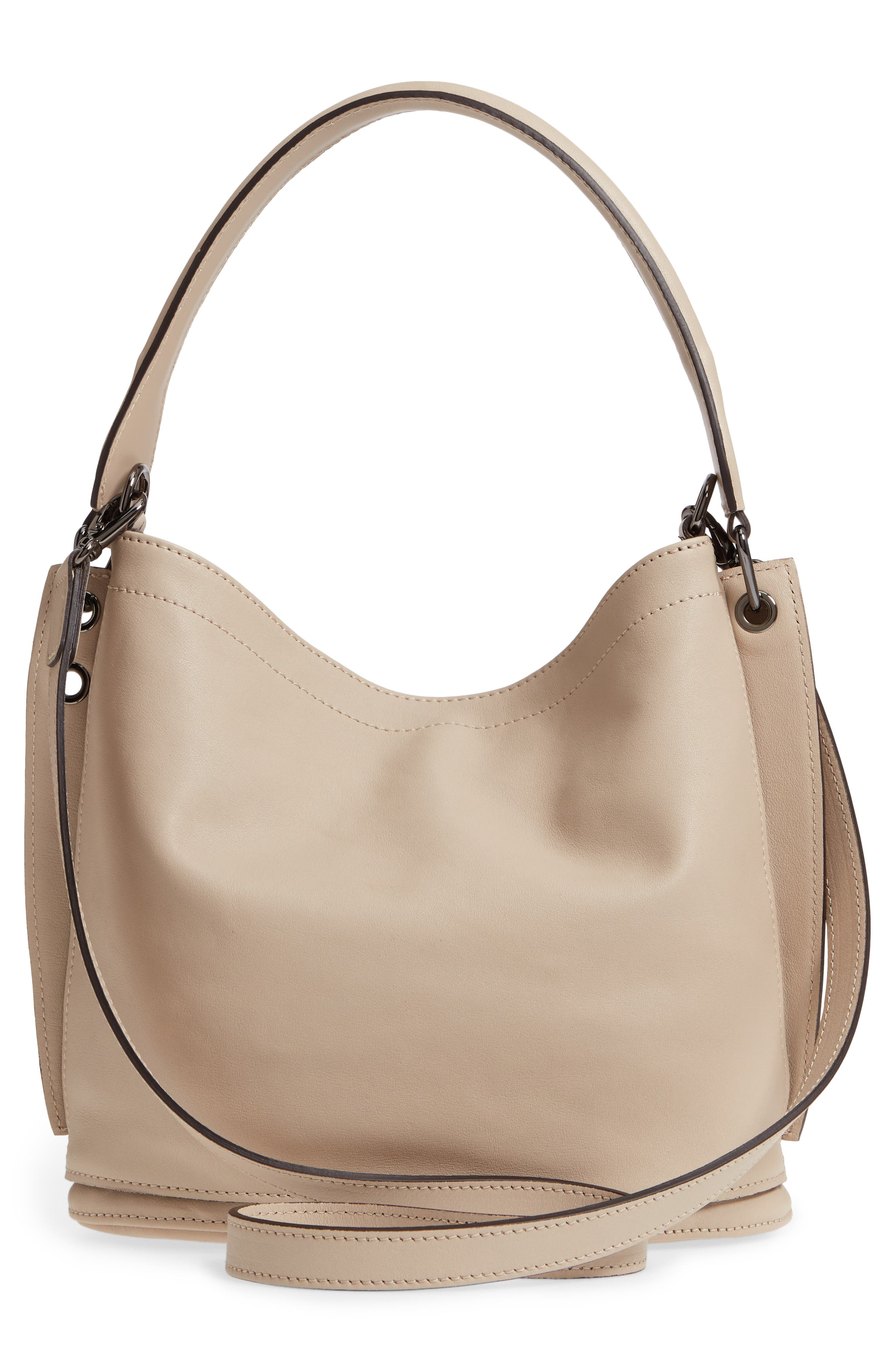 3D Leather Bucket Bag,                             Alternate thumbnail 3, color,                             Clay