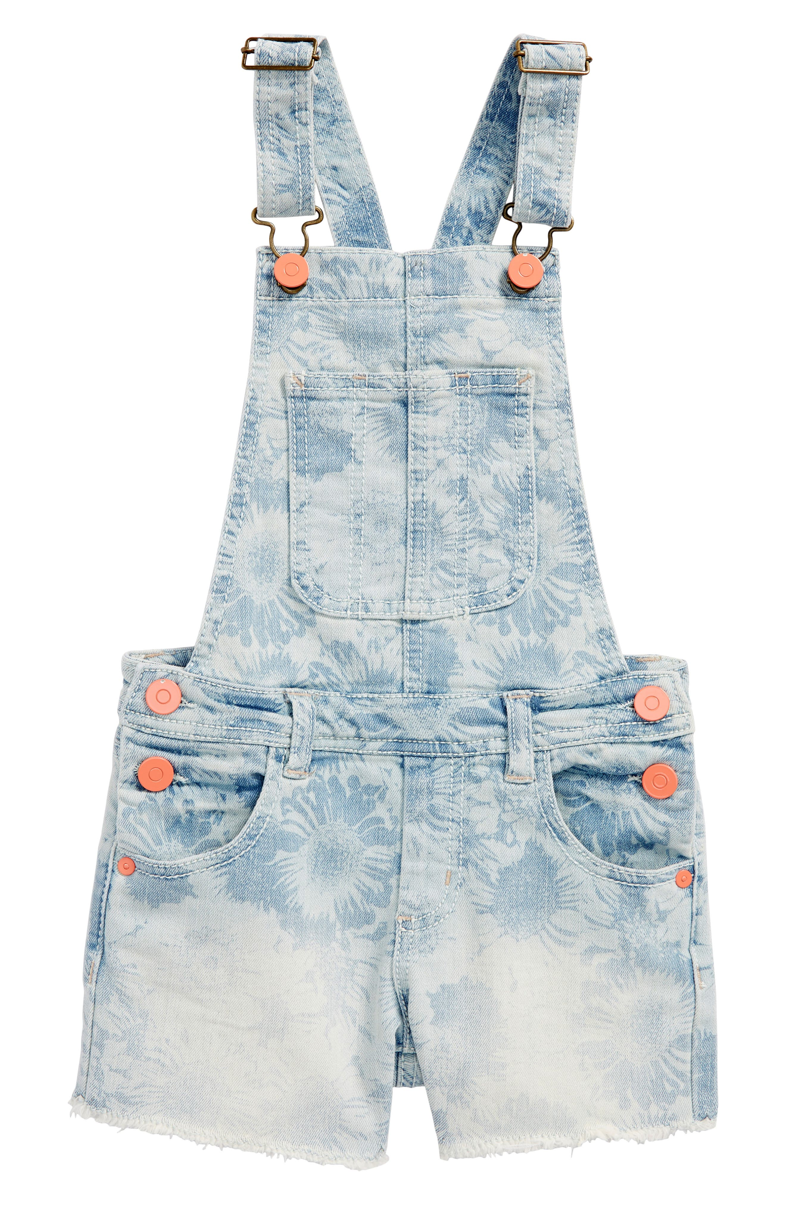 Daisy Cutoff Short Overalls,                         Main,                         color, Bleach