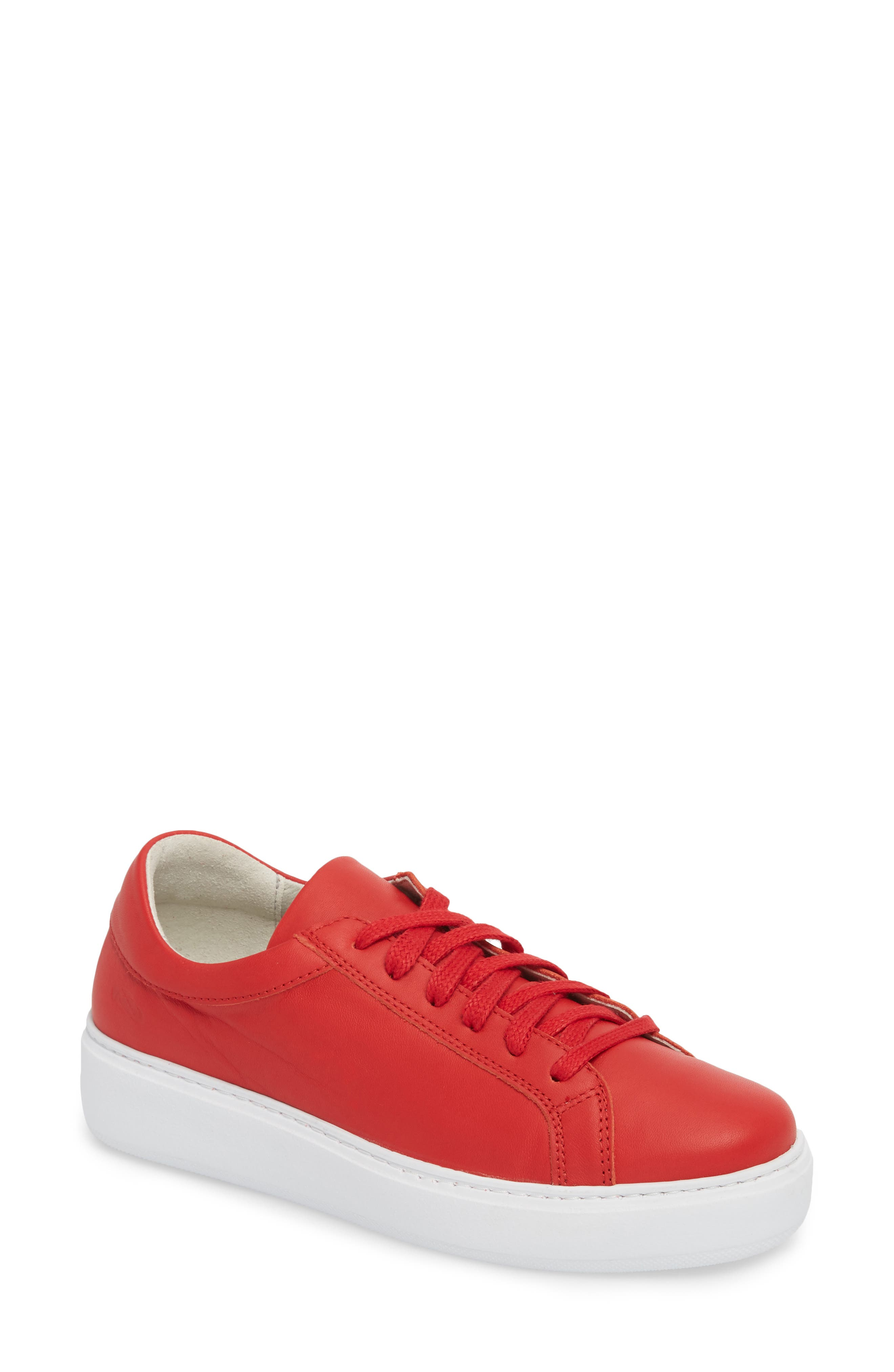 Tully Sneaker,                         Main,                         color, Red Leather