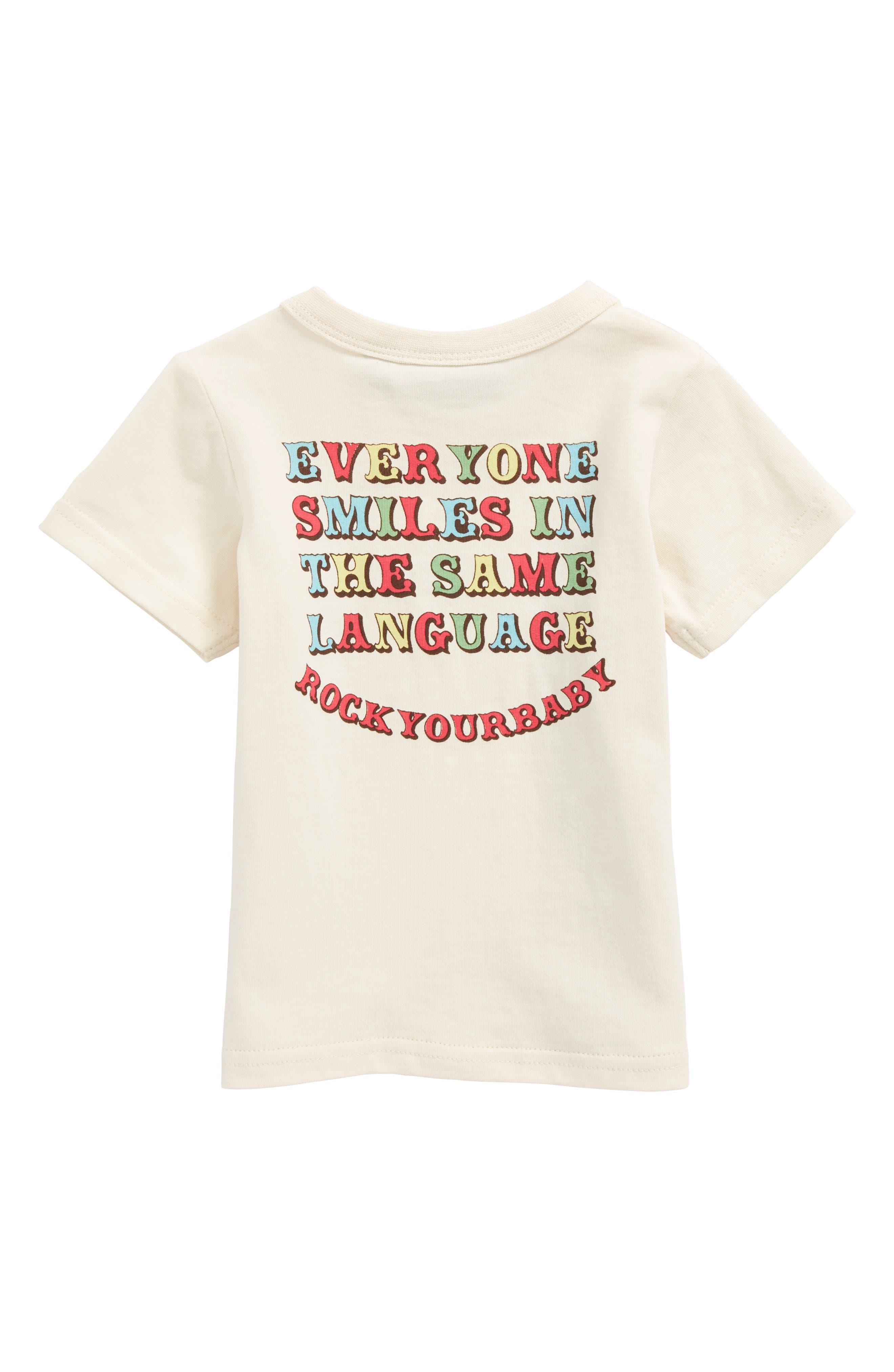 Everyone Smiles Graphic T-Shirt,                             Alternate thumbnail 2, color,                             Cream