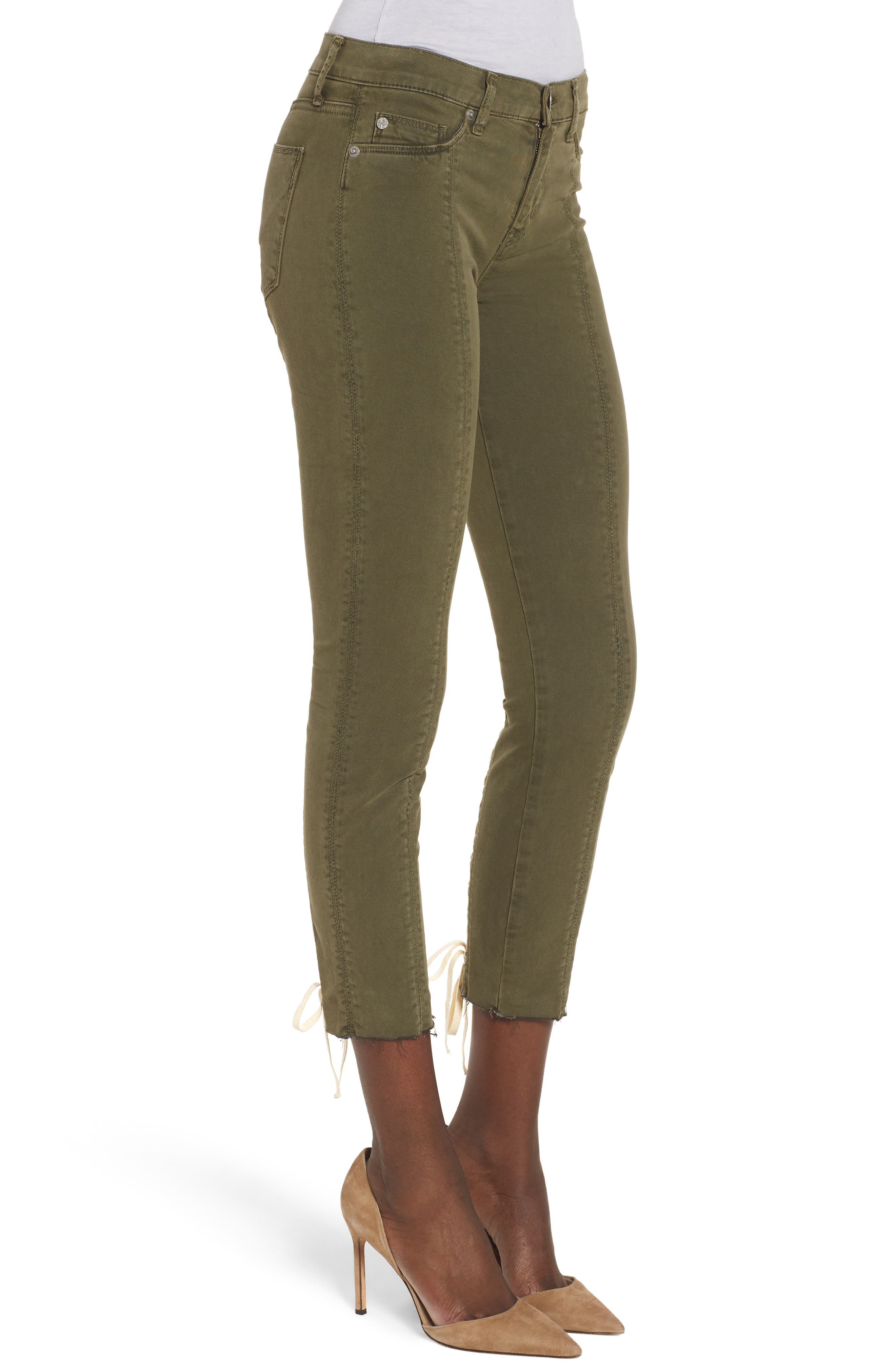 Nico Lace-Up Crop Super Skinny Jeans,                             Alternate thumbnail 3, color,                             Crushed Olive