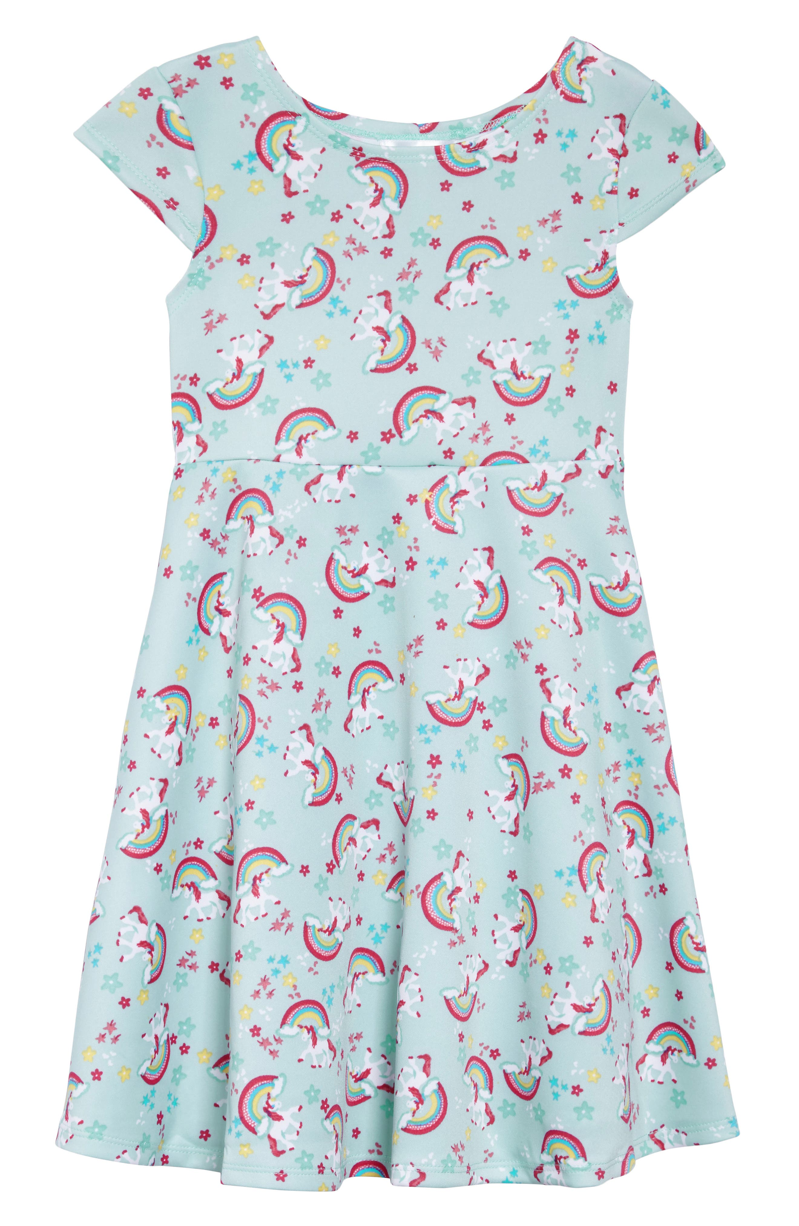 Unicorn Print Dress,                             Main thumbnail 1, color,                             Mint/ Pink