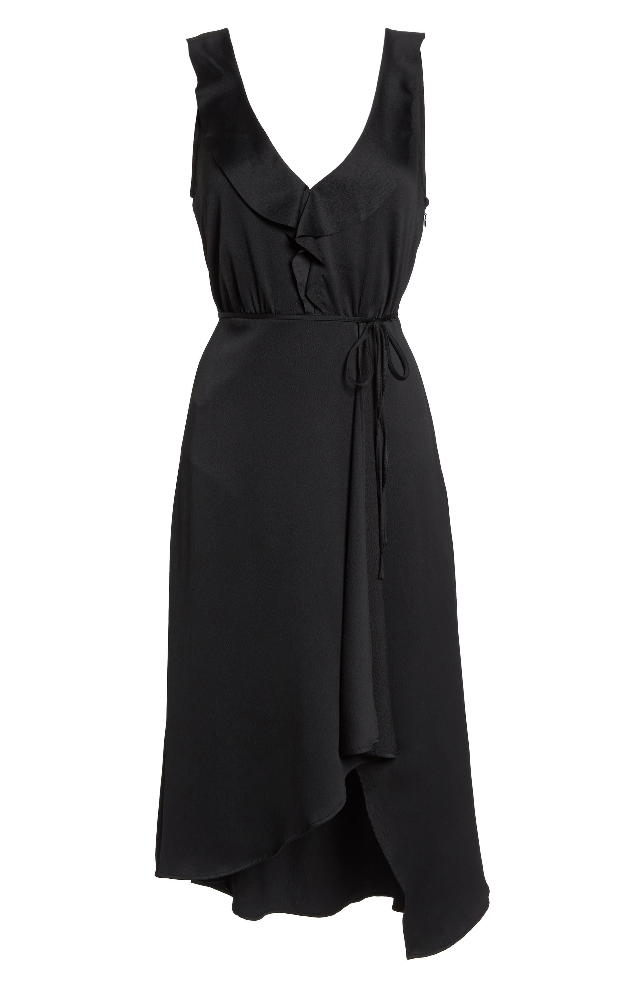 Maudie Ruffle Midi Dress,                             Alternate thumbnail 7, color,                             Black
