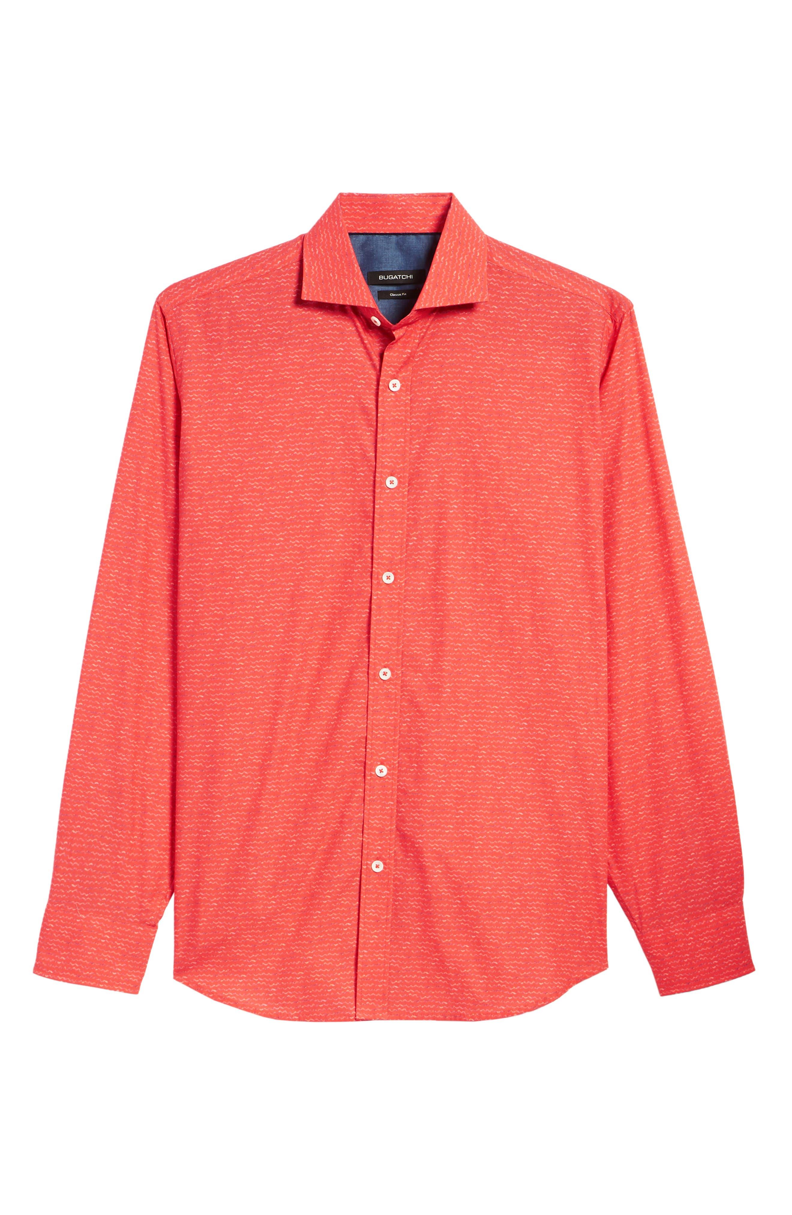 Classic Fit Woven Sport Shirt,                             Alternate thumbnail 6, color,                             Cherry