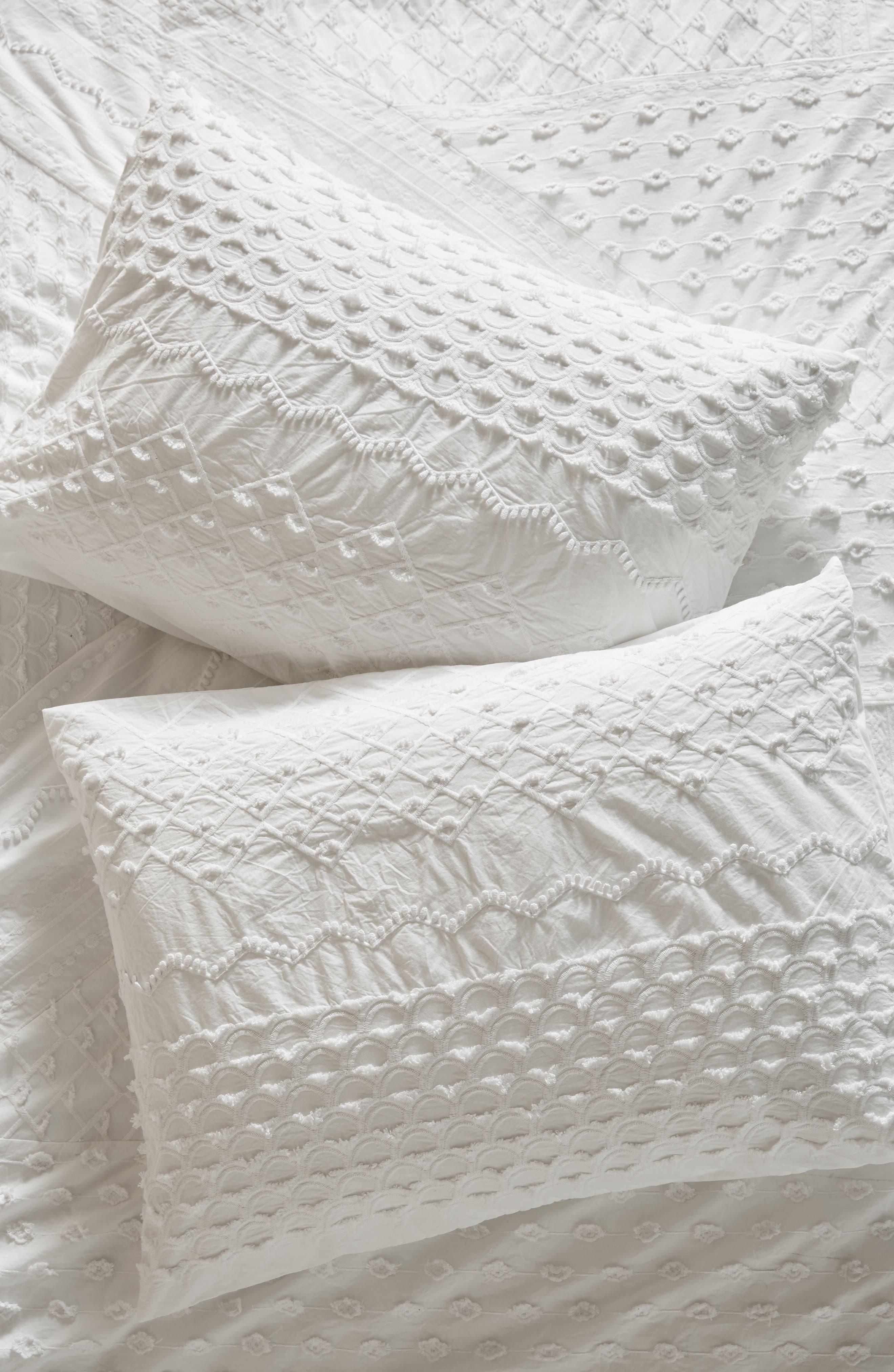 Embellished Fiona Pillow Shams,                             Main thumbnail 1, color,                             White