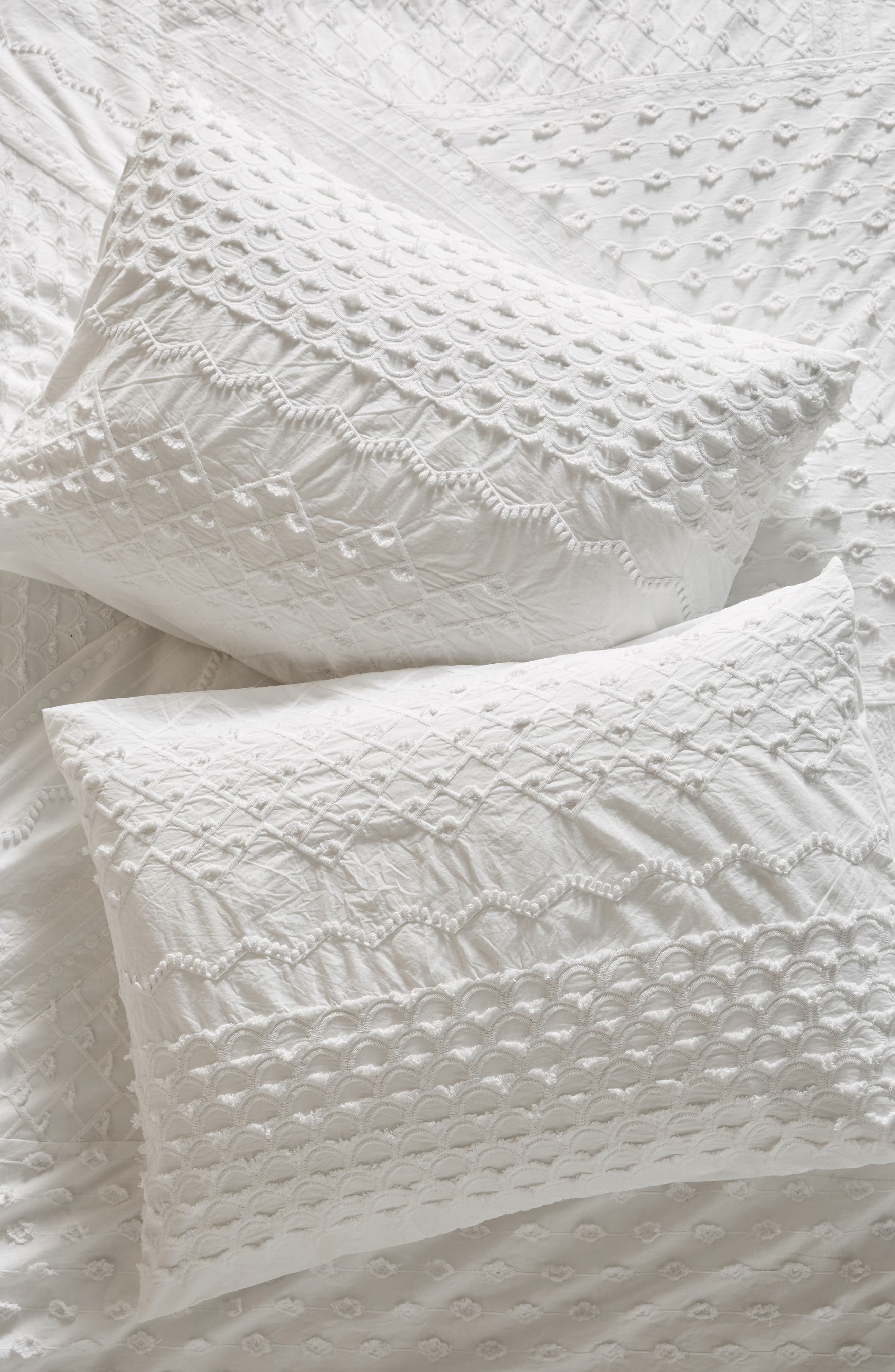 Embellished Fiona Pillow Shams,                         Main,                         color, White
