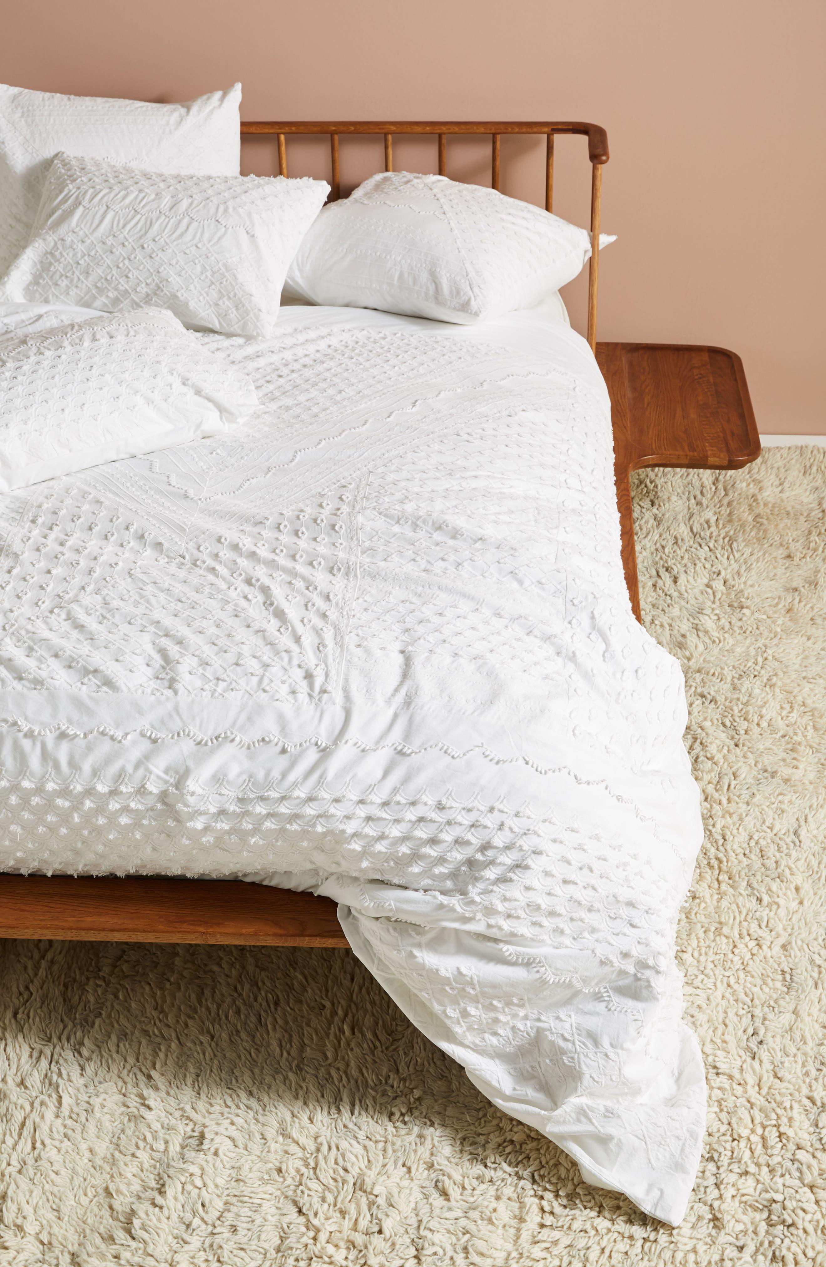 Embellished Fiona Duvet Cover,                         Main,                         color, White