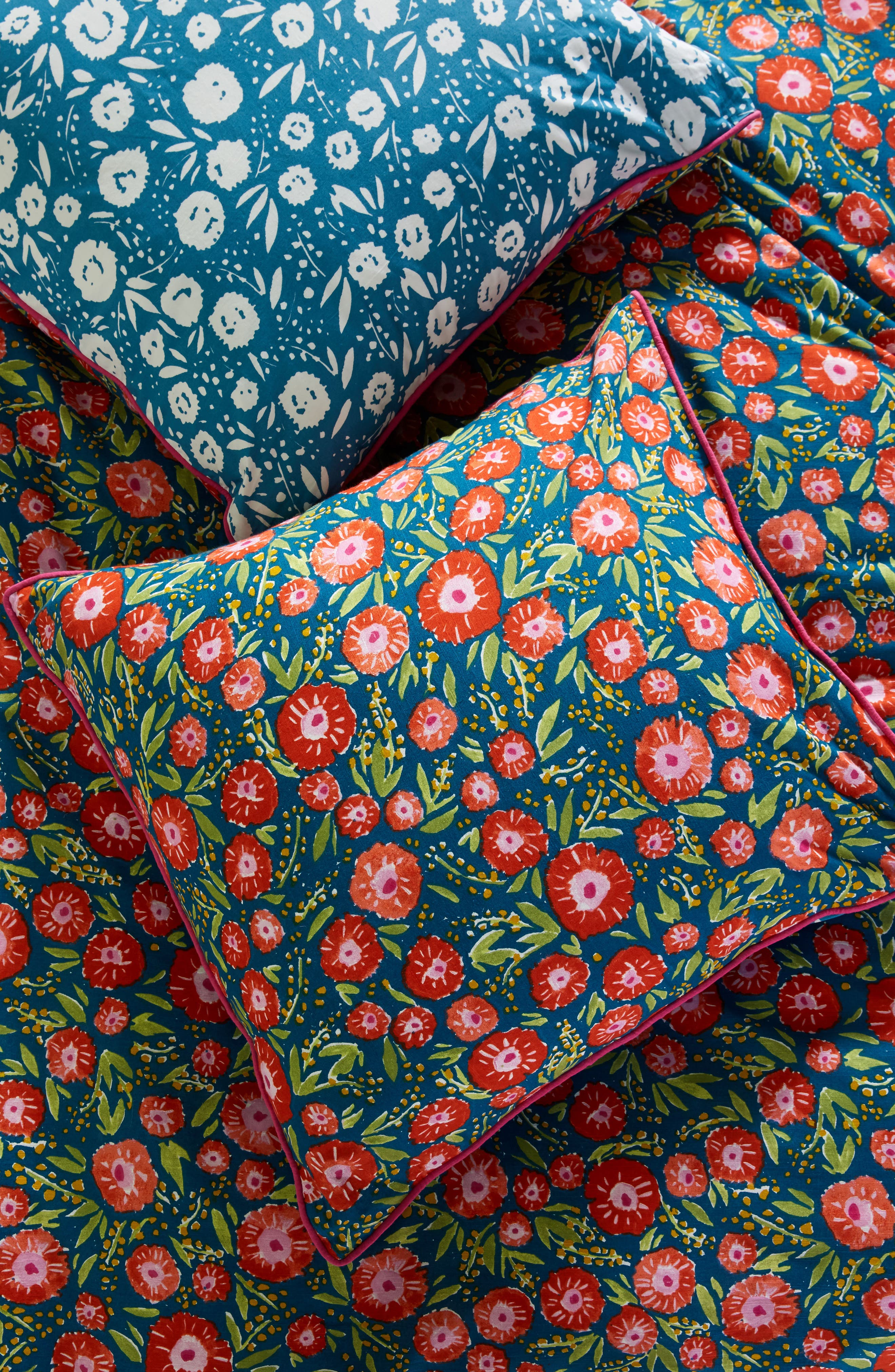 Painted Poppies Euro Sham,                         Main,                         color, Blue