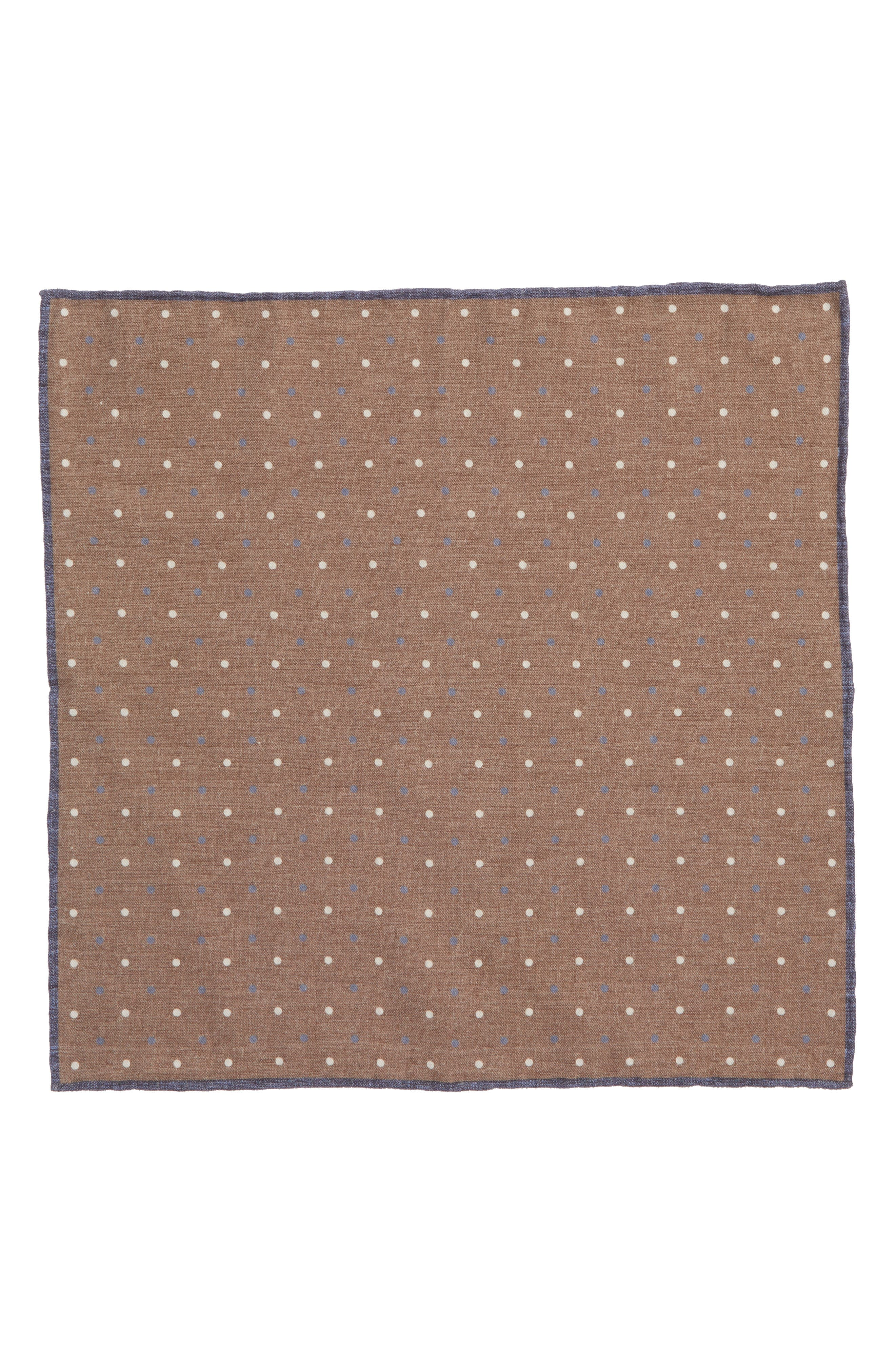 Dotted Wool & Cotton Pocket Square,                             Alternate thumbnail 2, color,                             Dark Brown