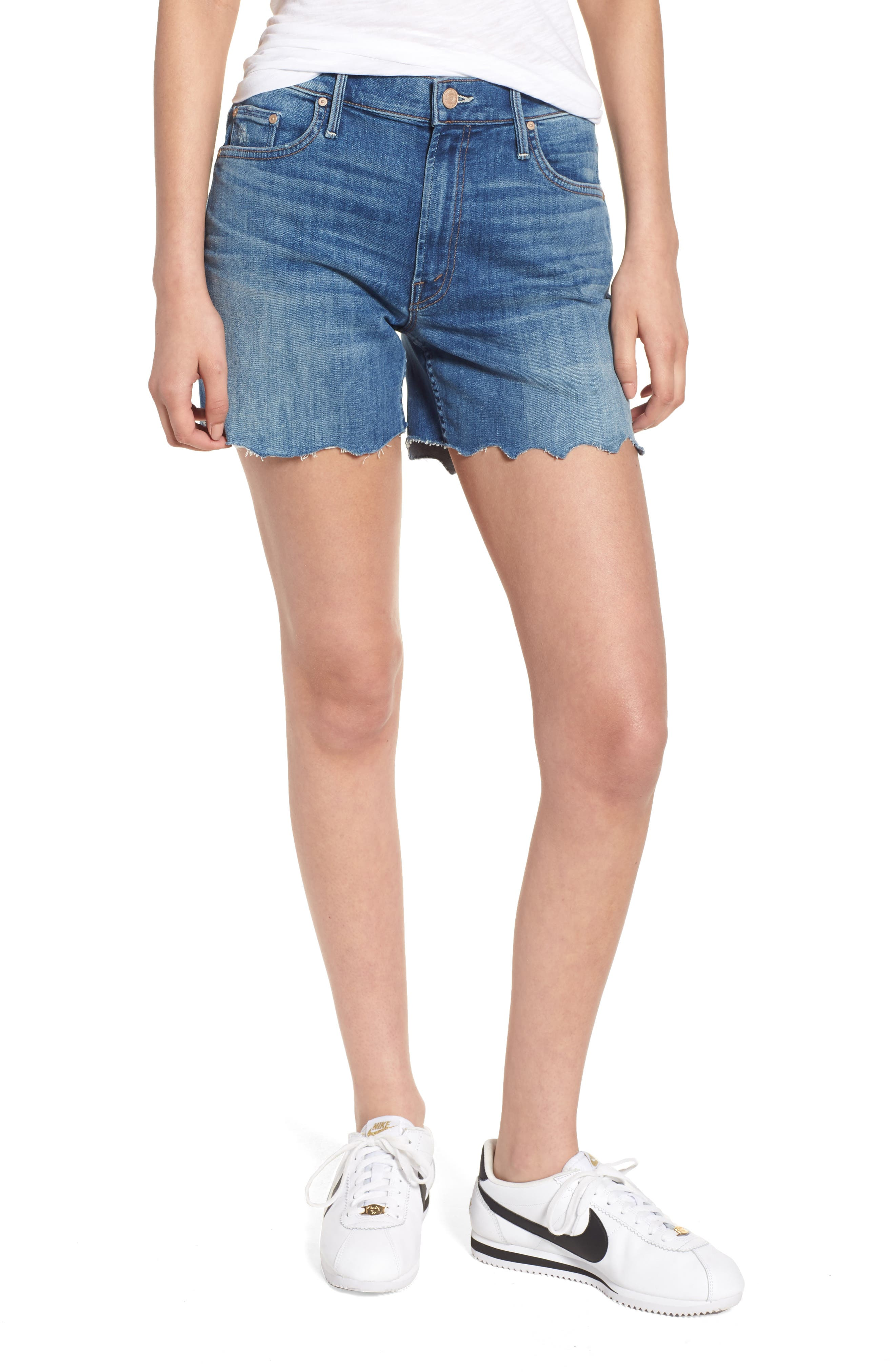 Alternate Image 1 Selected - MOTHER The Sinner Fray Denim Shorts (Mums the Word)