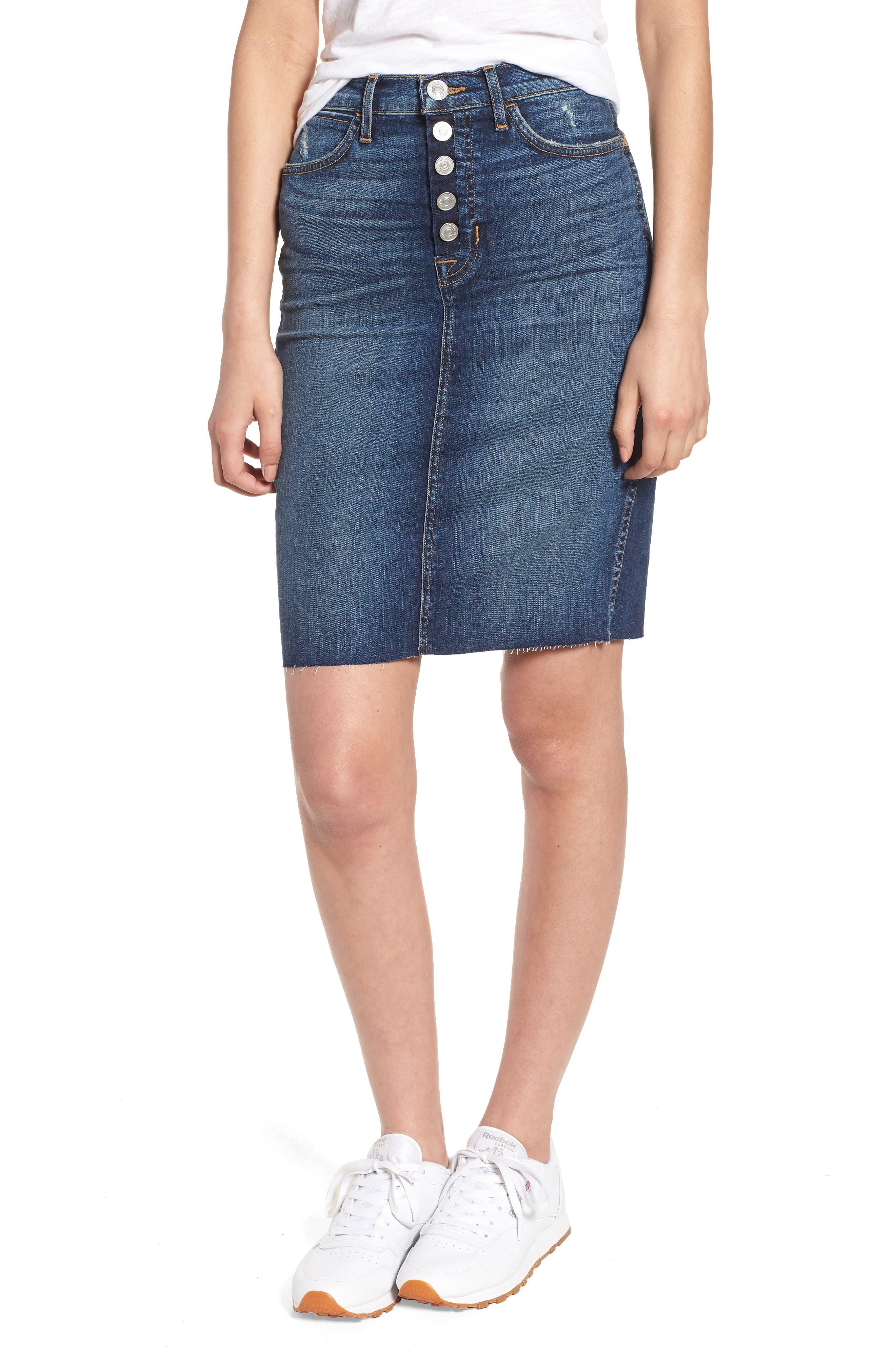 Hudson Jeans Remi High Waist Fray Hem Denim Pencil Skirt