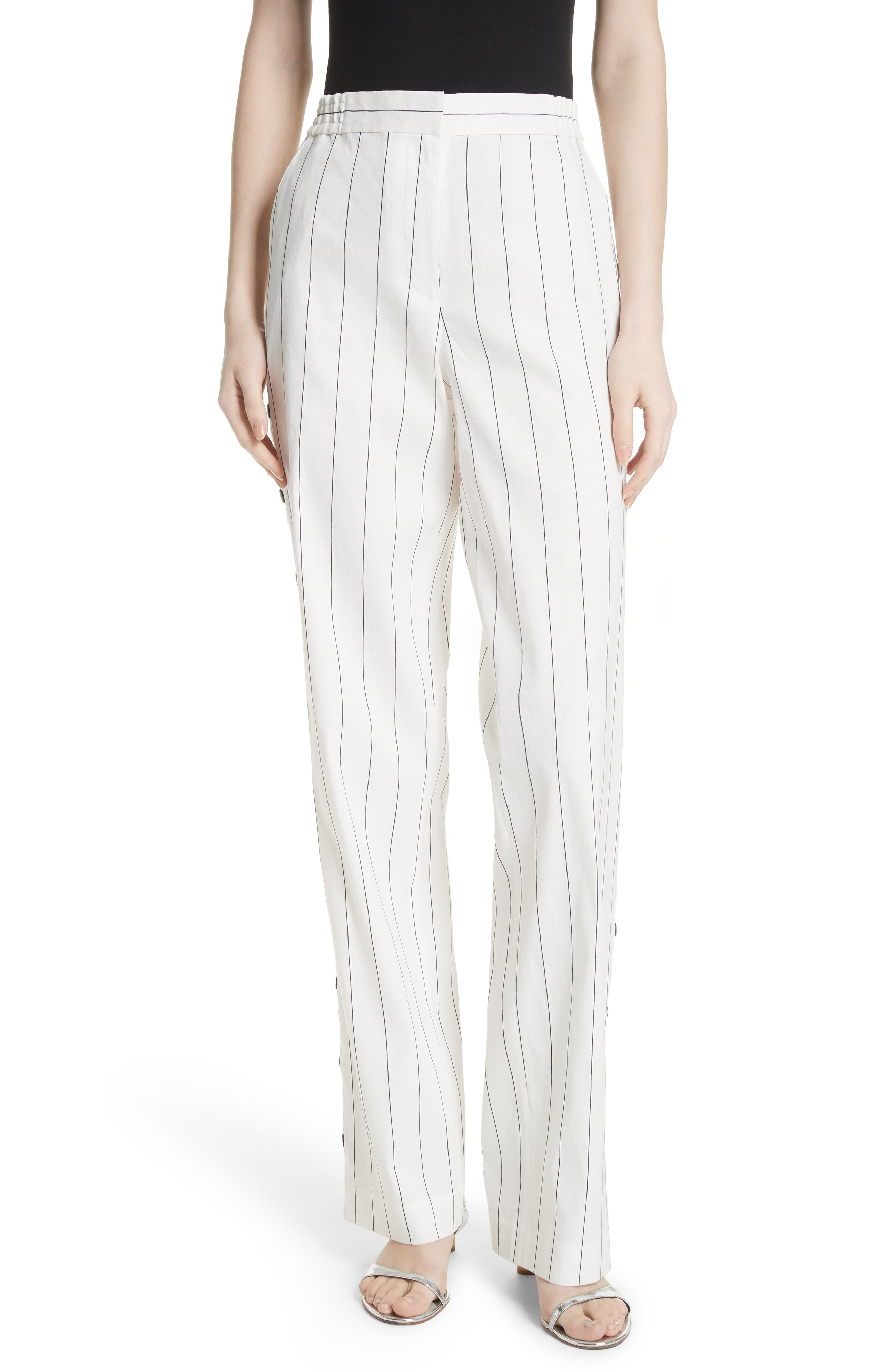 Snap Side Stripe Pants,                             Main thumbnail 1, color,                             Ivory Multi