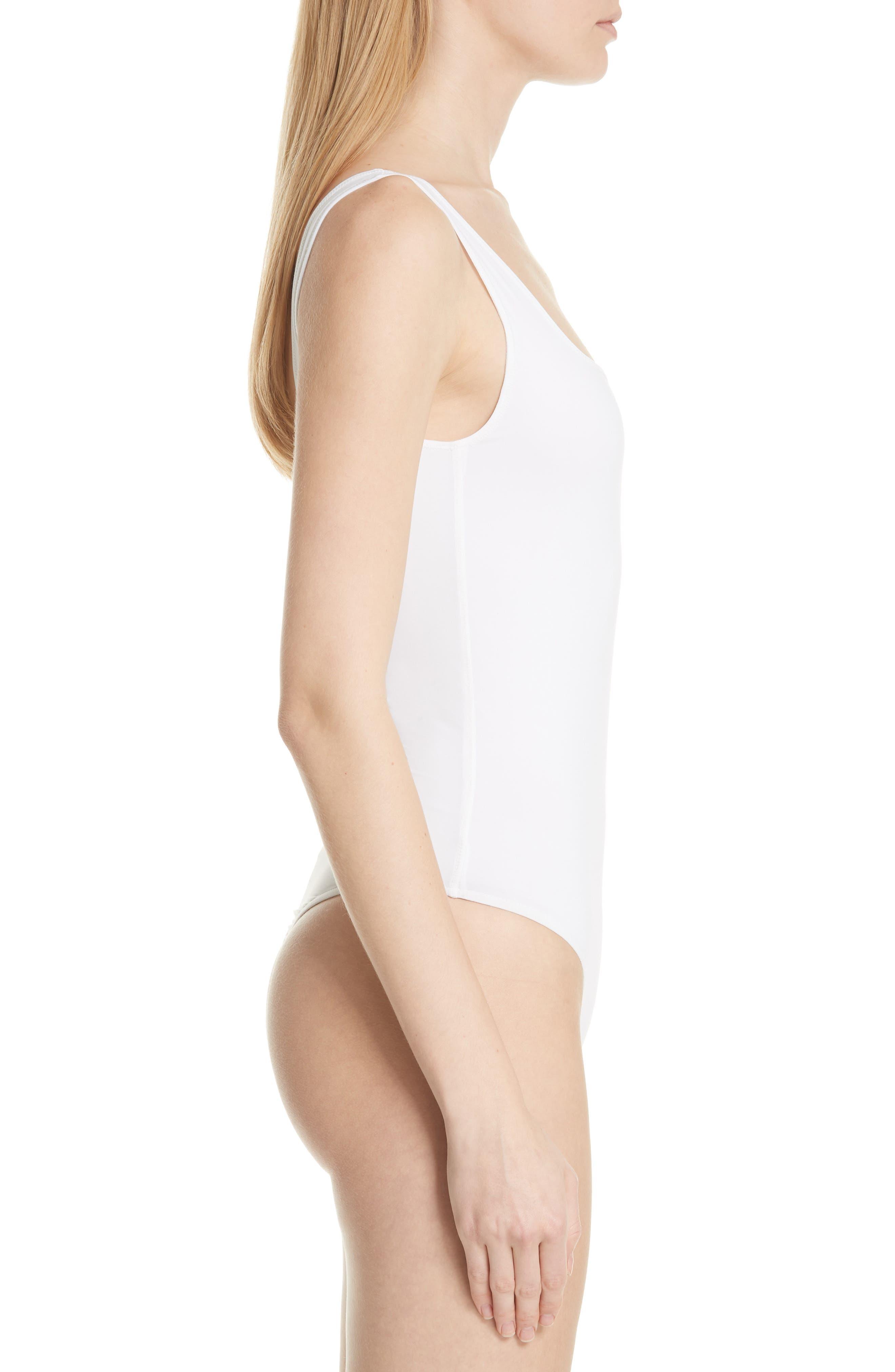 Square Neck Bodysuit,                             Alternate thumbnail 3, color,                             Optic White