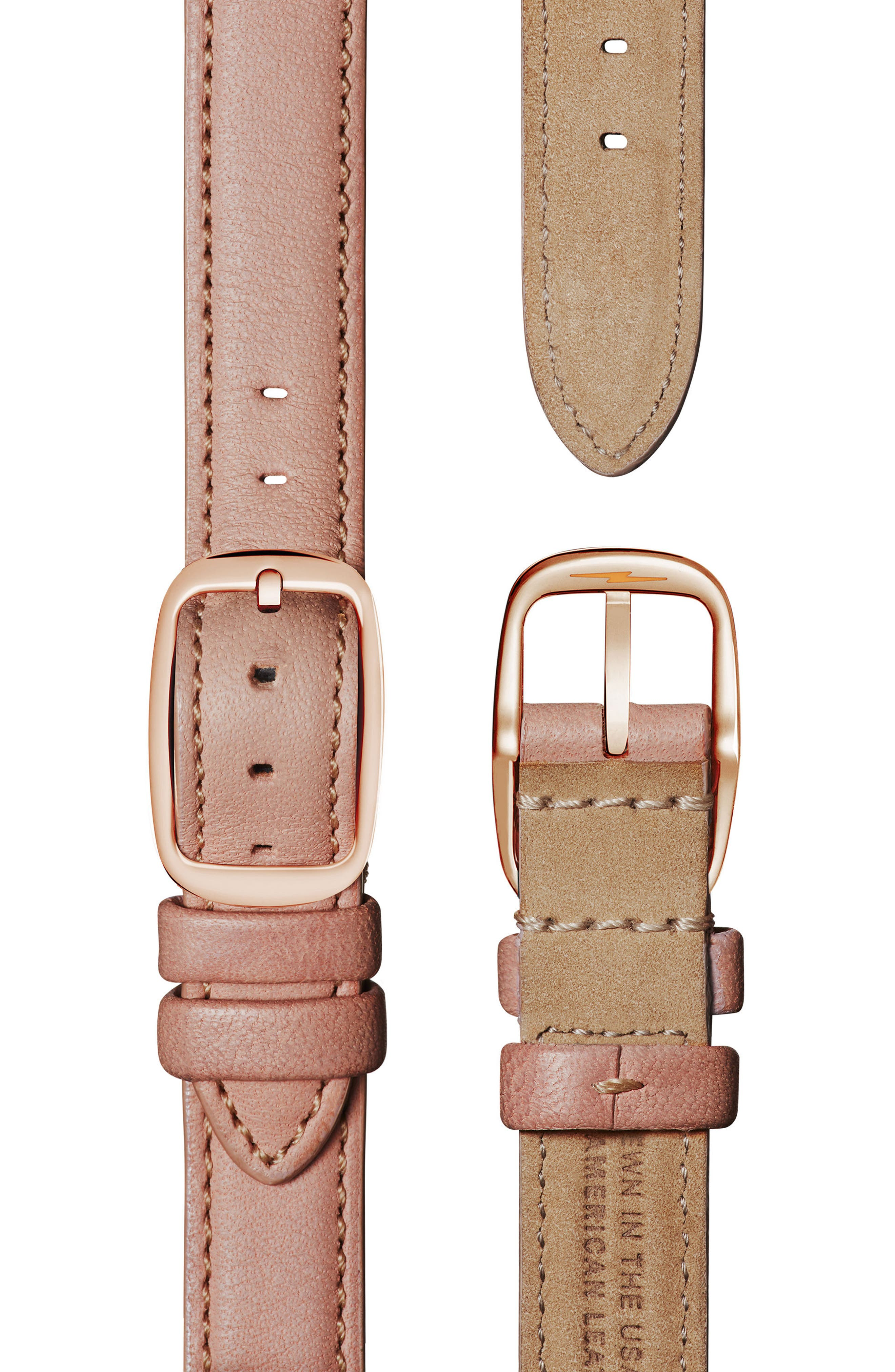 Cass Leather Strap Watch, 28mm,                             Alternate thumbnail 4, color,                             Nude/ Gold
