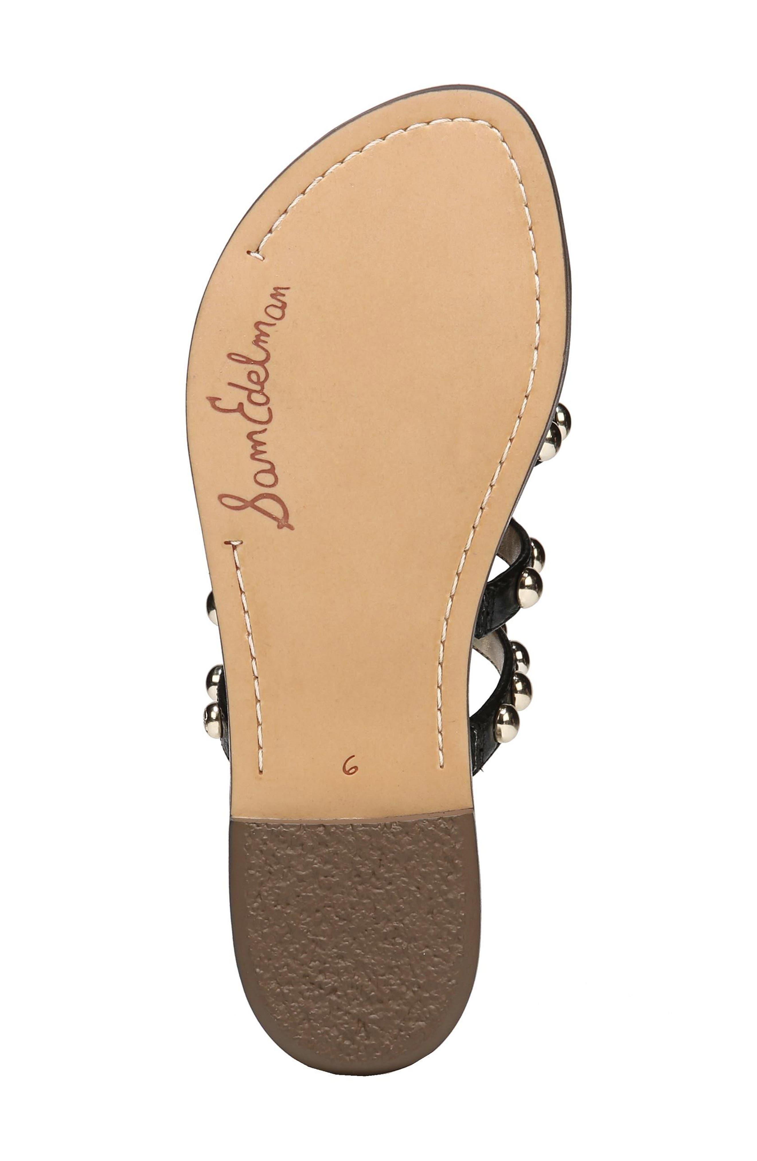 Glenn Studded Slide Sandal,                             Alternate thumbnail 6, color,                             Black Leather