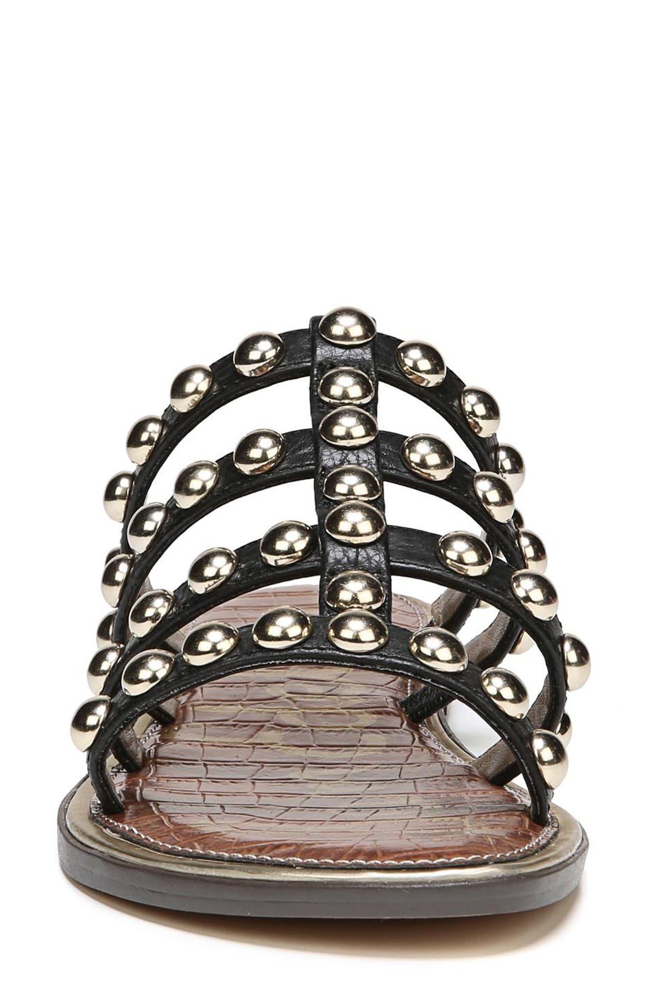Glenn Studded Slide Sandal,                             Alternate thumbnail 4, color,                             Black Leather