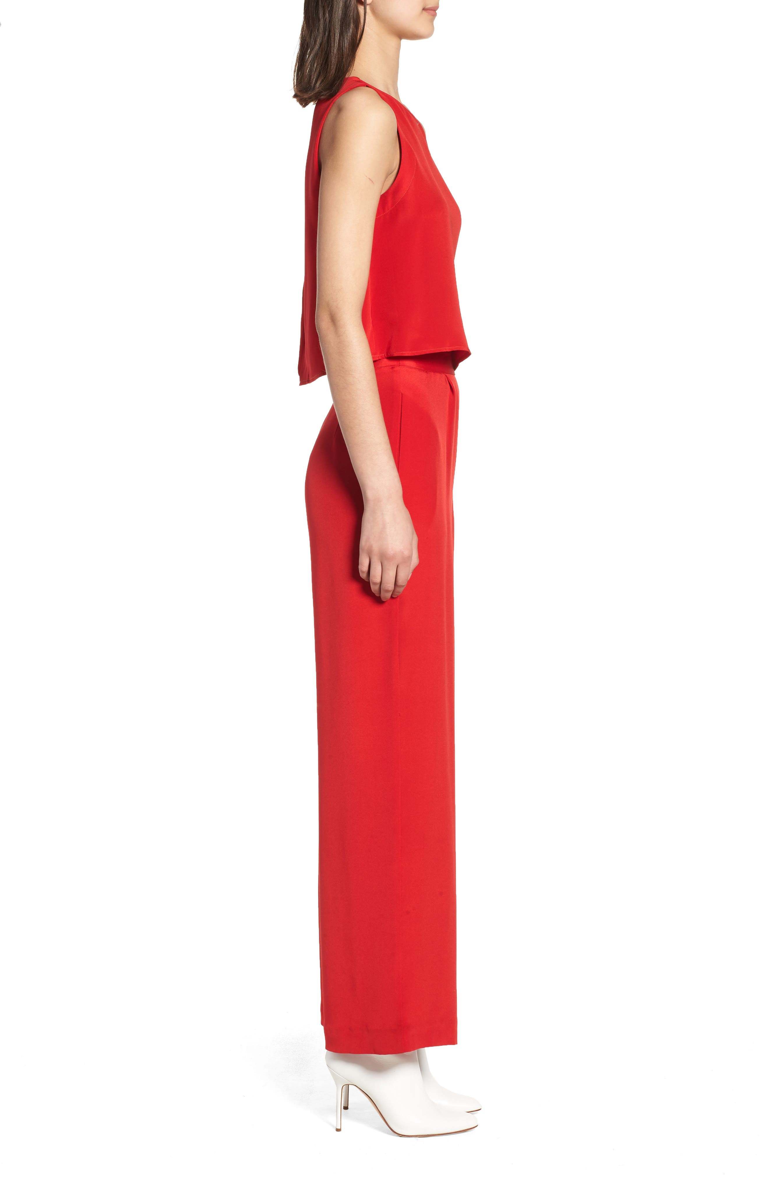 Urban Silky Top & Pants,                             Alternate thumbnail 3, color,                             Red