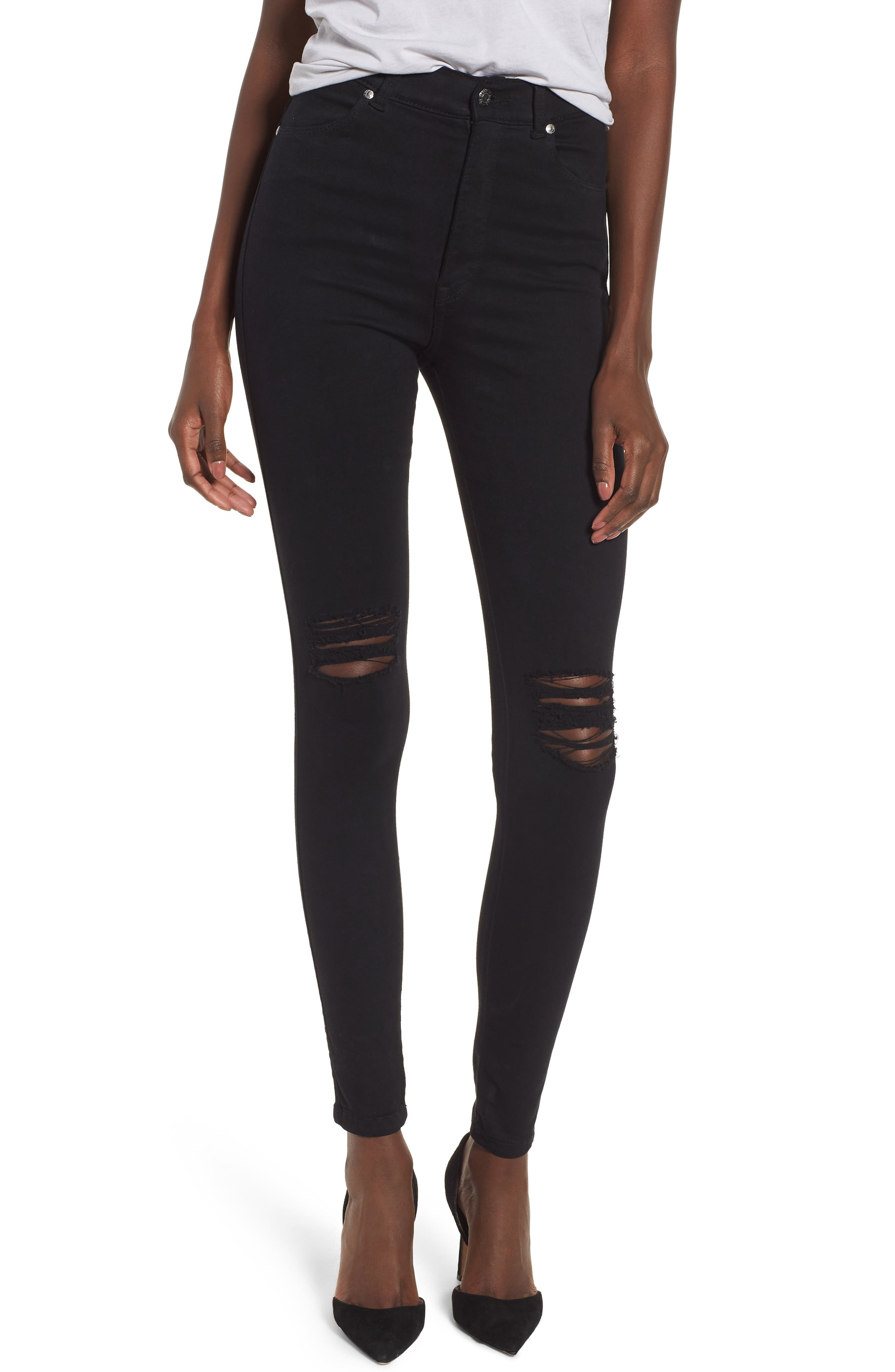 Moxy Ripped Knee Skinny Jeans,                             Main thumbnail 1, color,                             Black