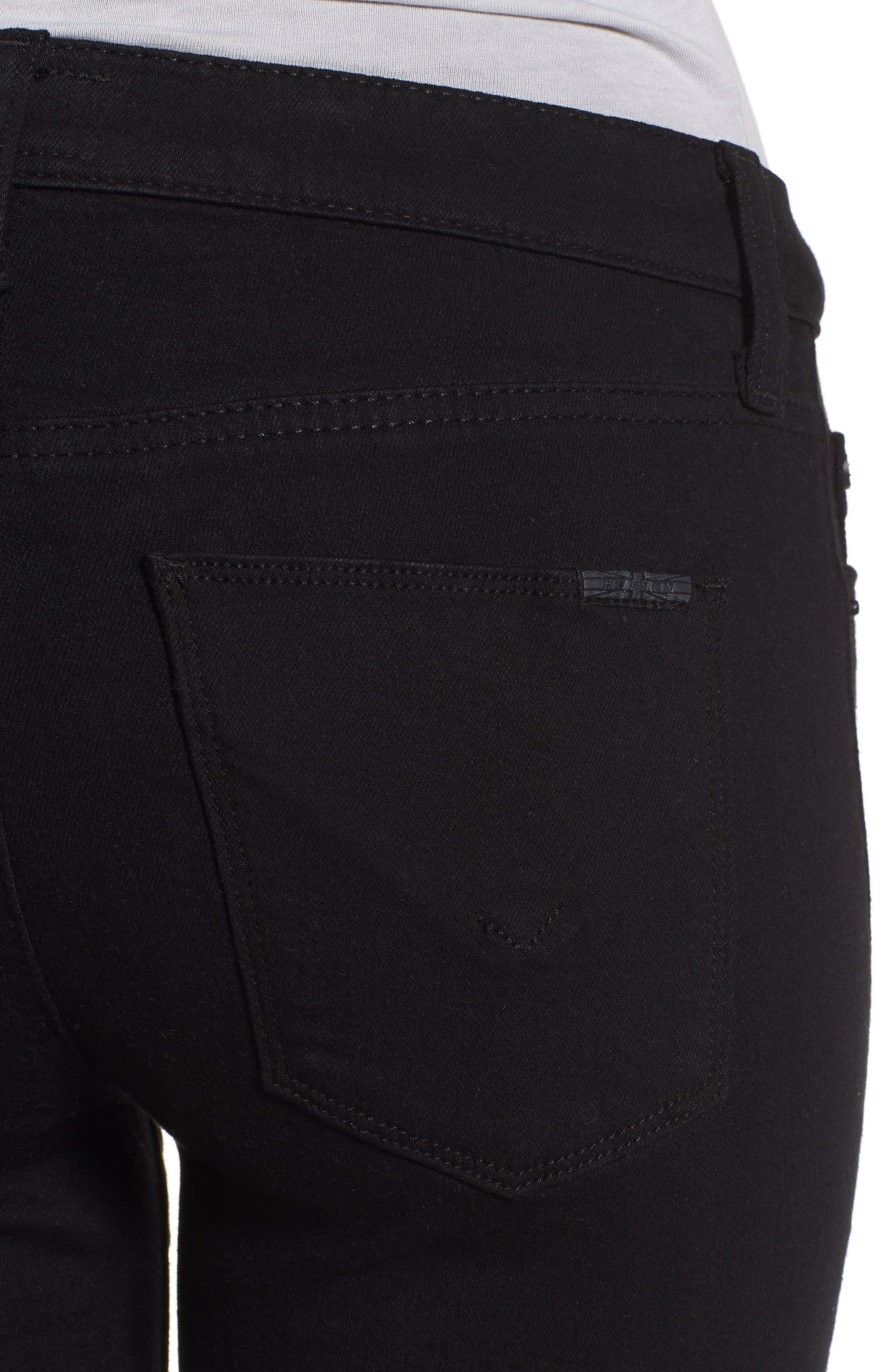 Amelia Cutoff Knee Shorts,                             Alternate thumbnail 4, color,                             Black