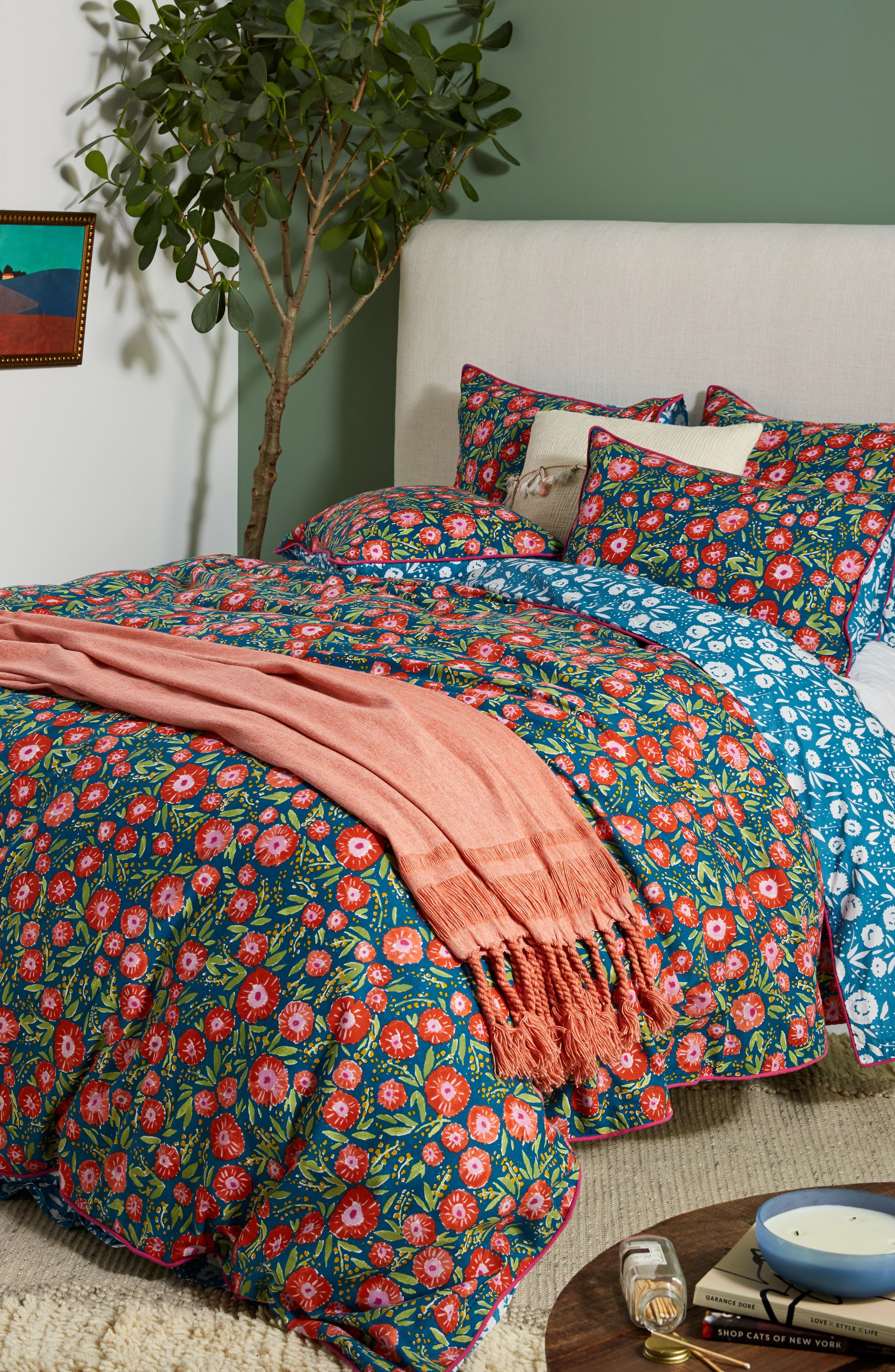 Painted Poppies Duvet Cover,                             Alternate thumbnail 5, color,