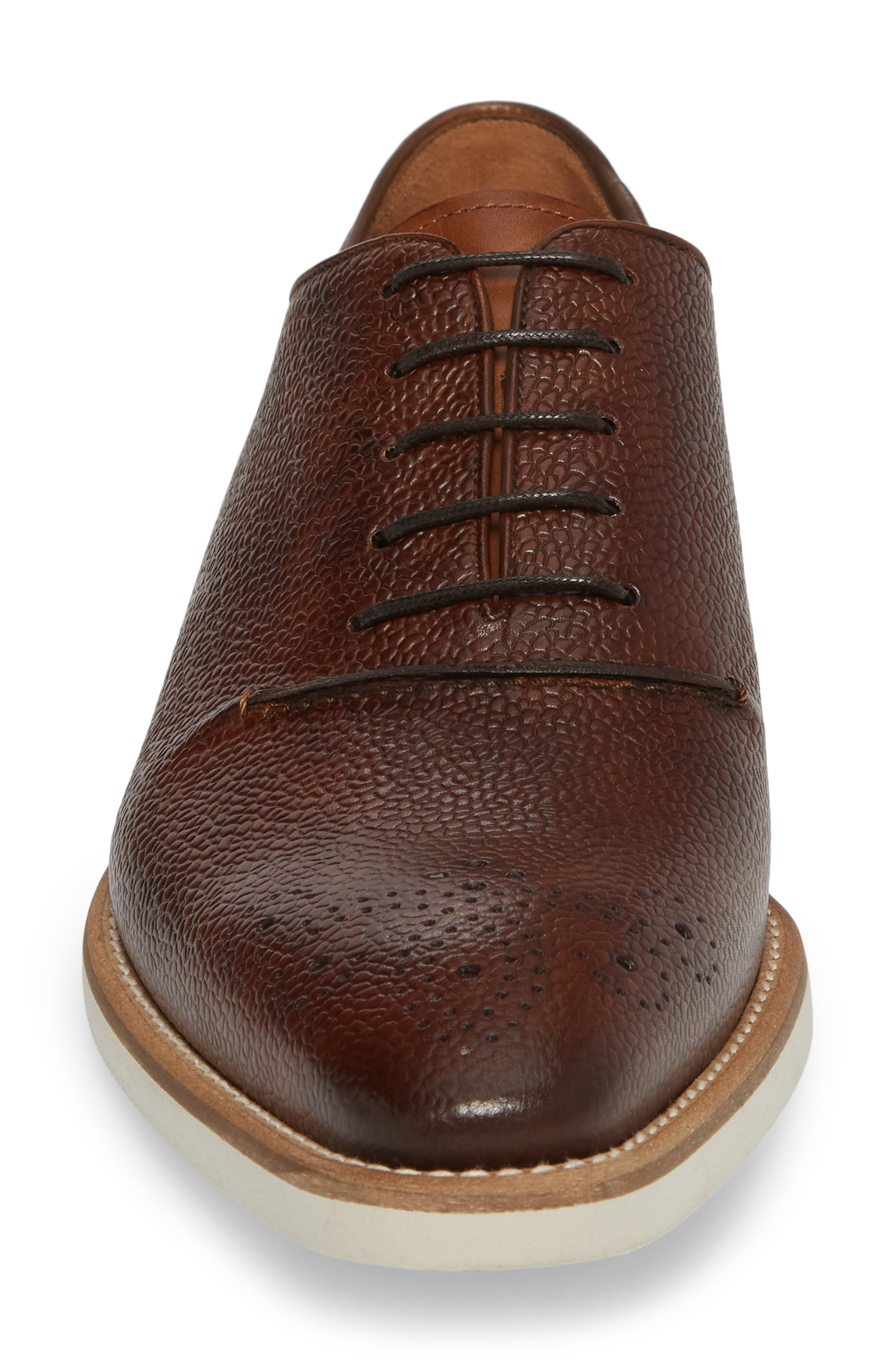 Polux Brogued Oxford,                             Alternate thumbnail 4, color,                             Cognac Leather