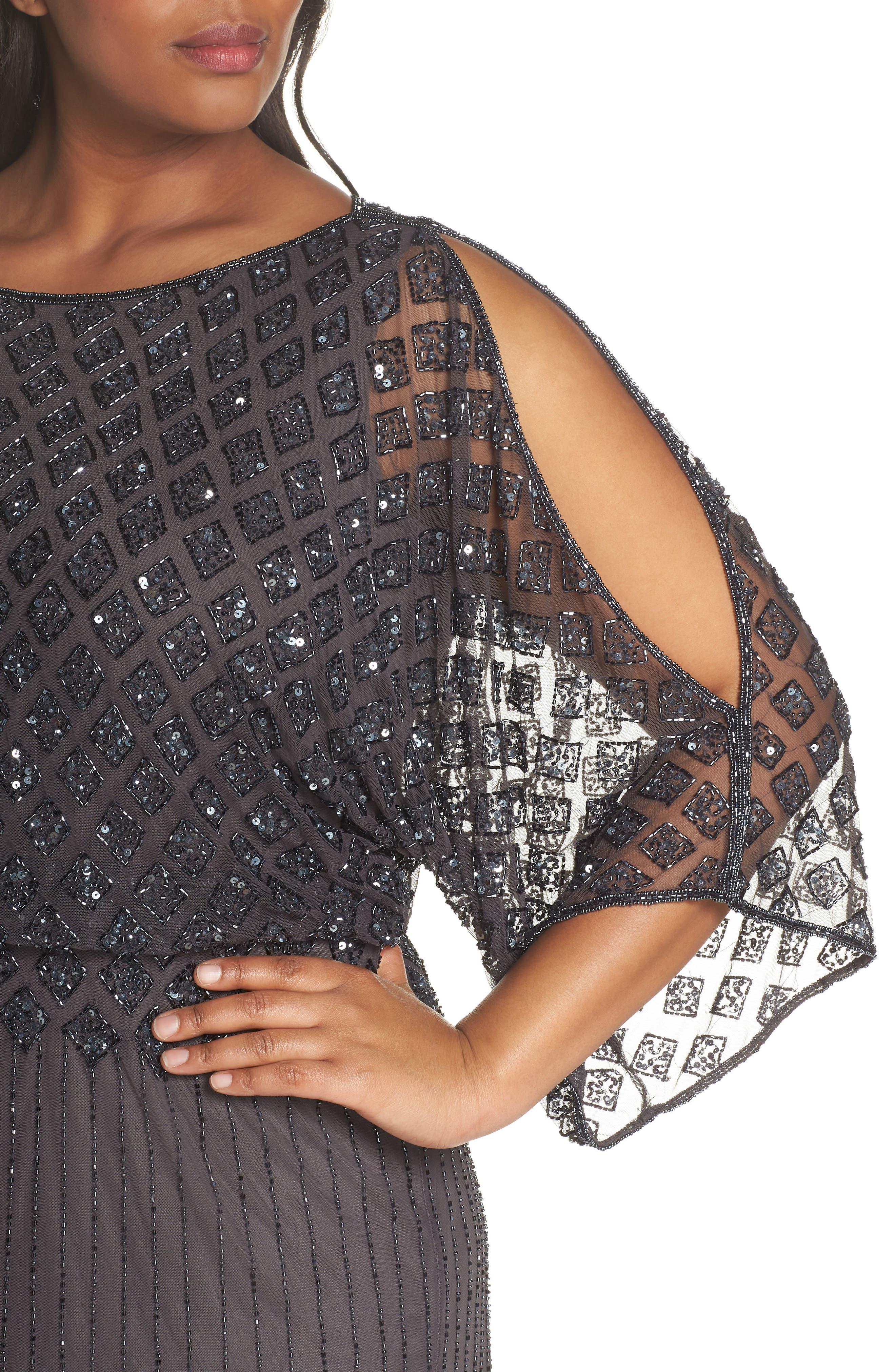 Diamond Motif Mesh Blouson Gown,                             Alternate thumbnail 5, color,                             Slate