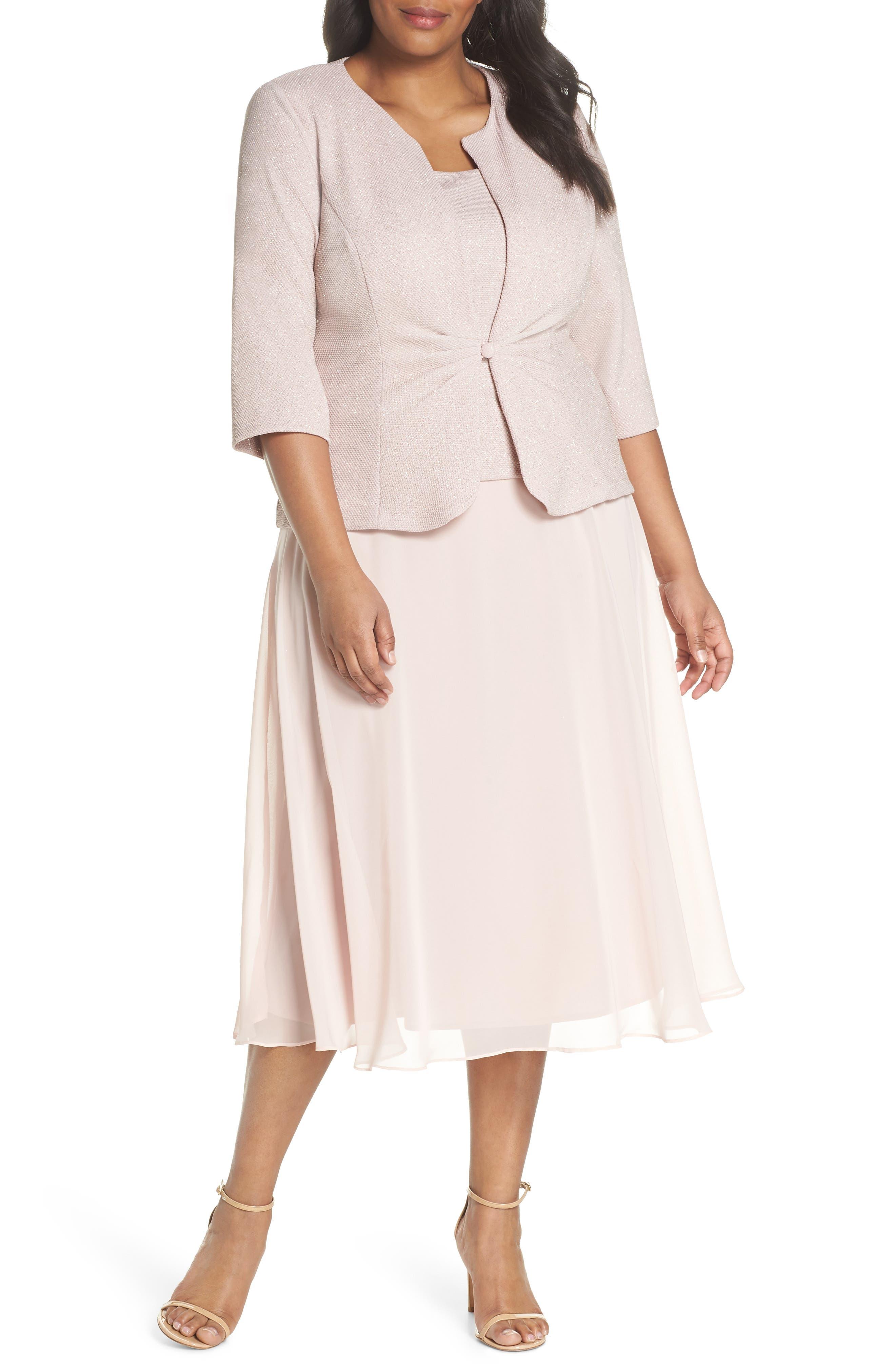 Glitter Tea Length A-Line Dress with Jacket,                         Main,                         color, Pale Blush