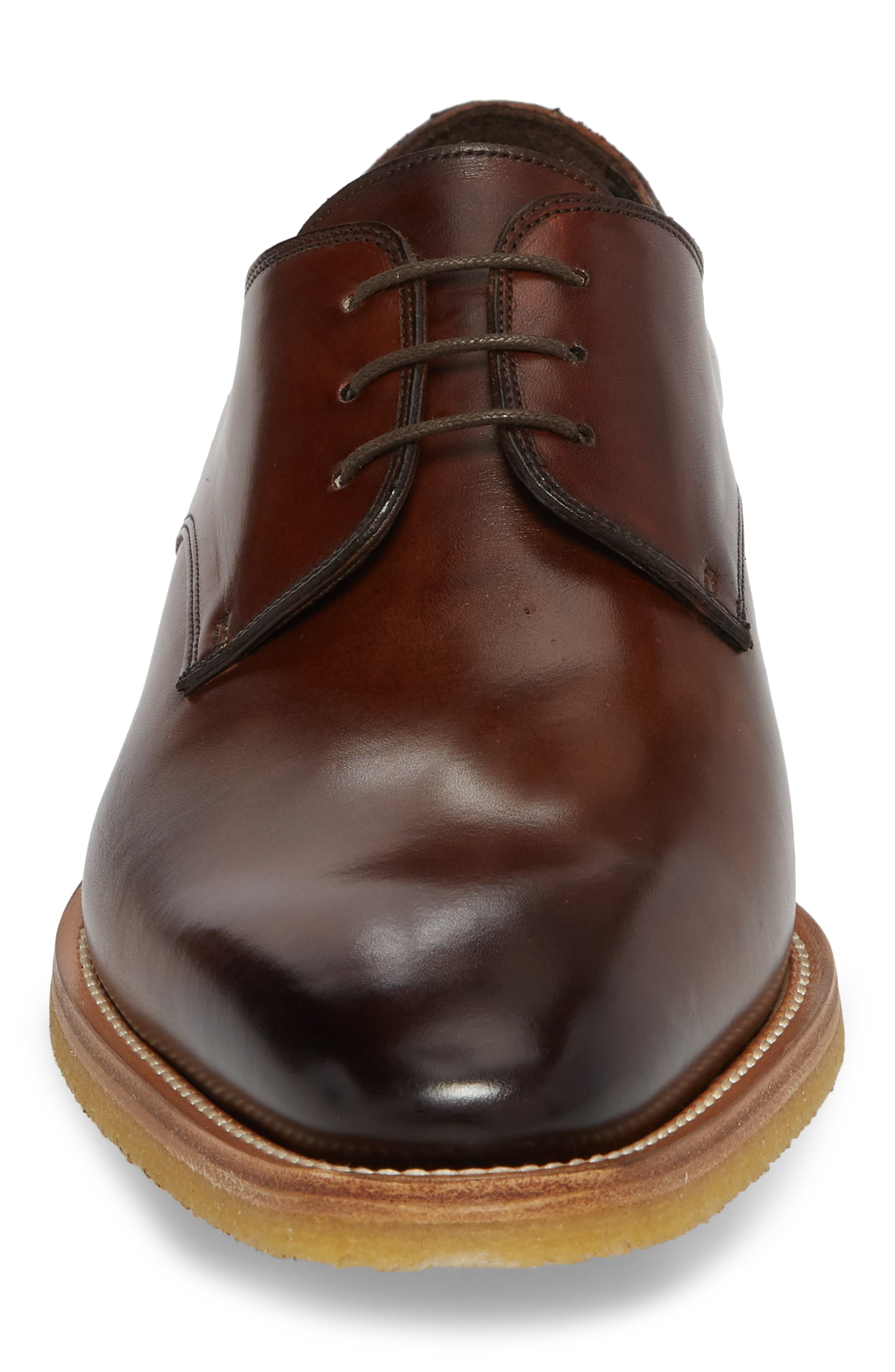 Caruso Plain Toe Derby,                             Alternate thumbnail 4, color,                             Chestnut Leather