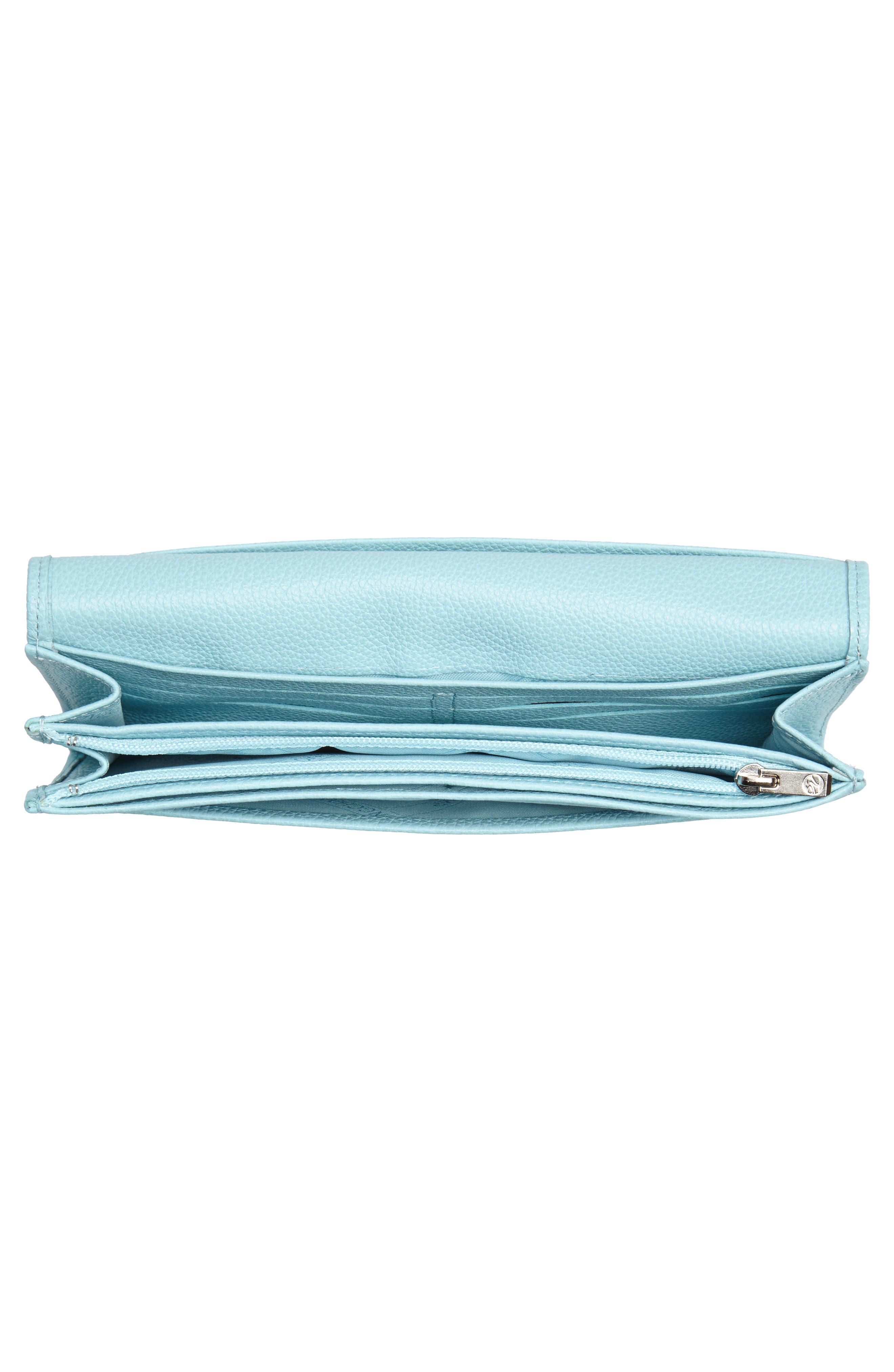 'Veau' Continental Wallet,                             Alternate thumbnail 2, color,                             Aqua