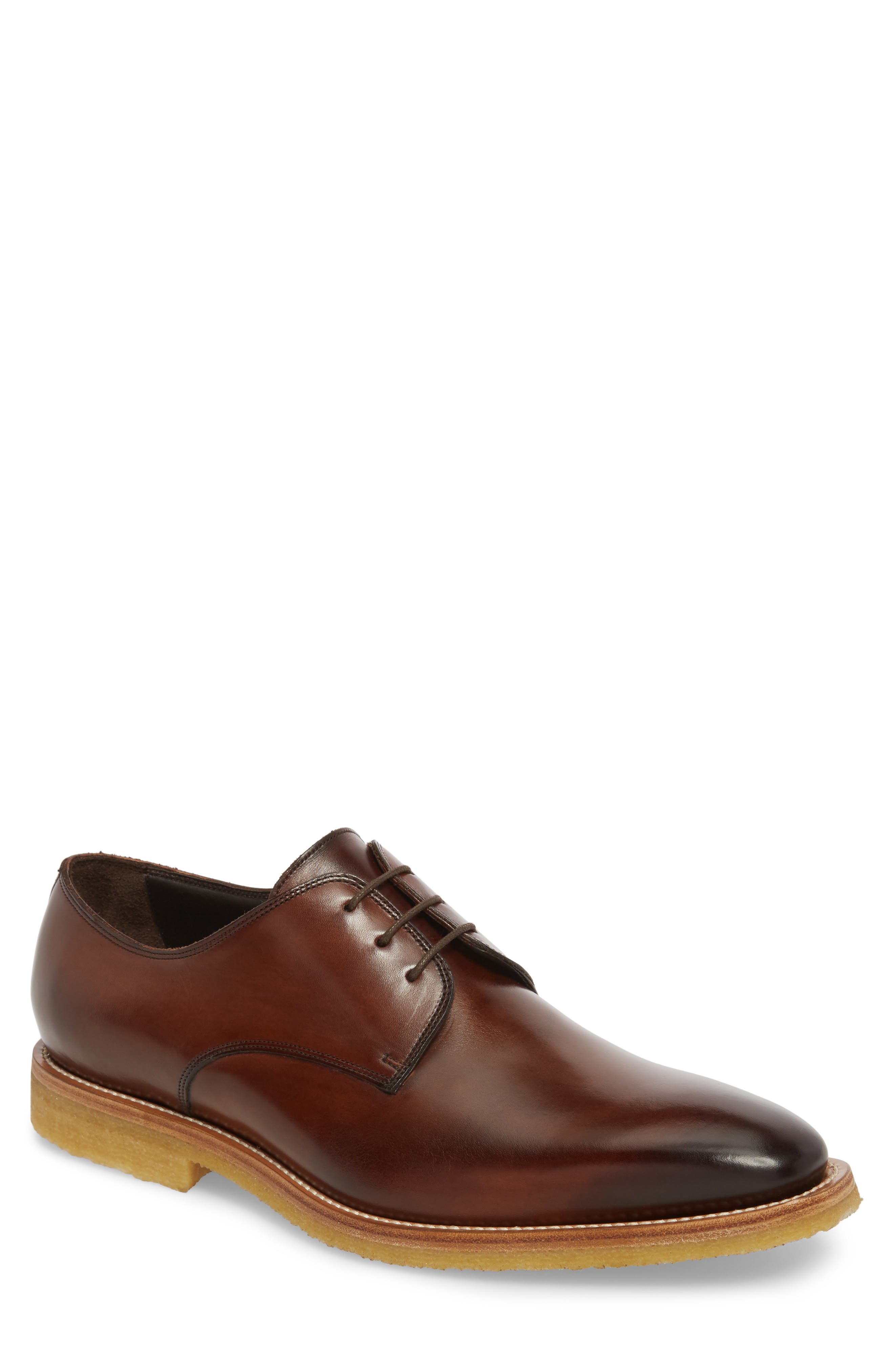 Caruso Plain Toe Derby,                             Main thumbnail 1, color,                             Chestnut Leather
