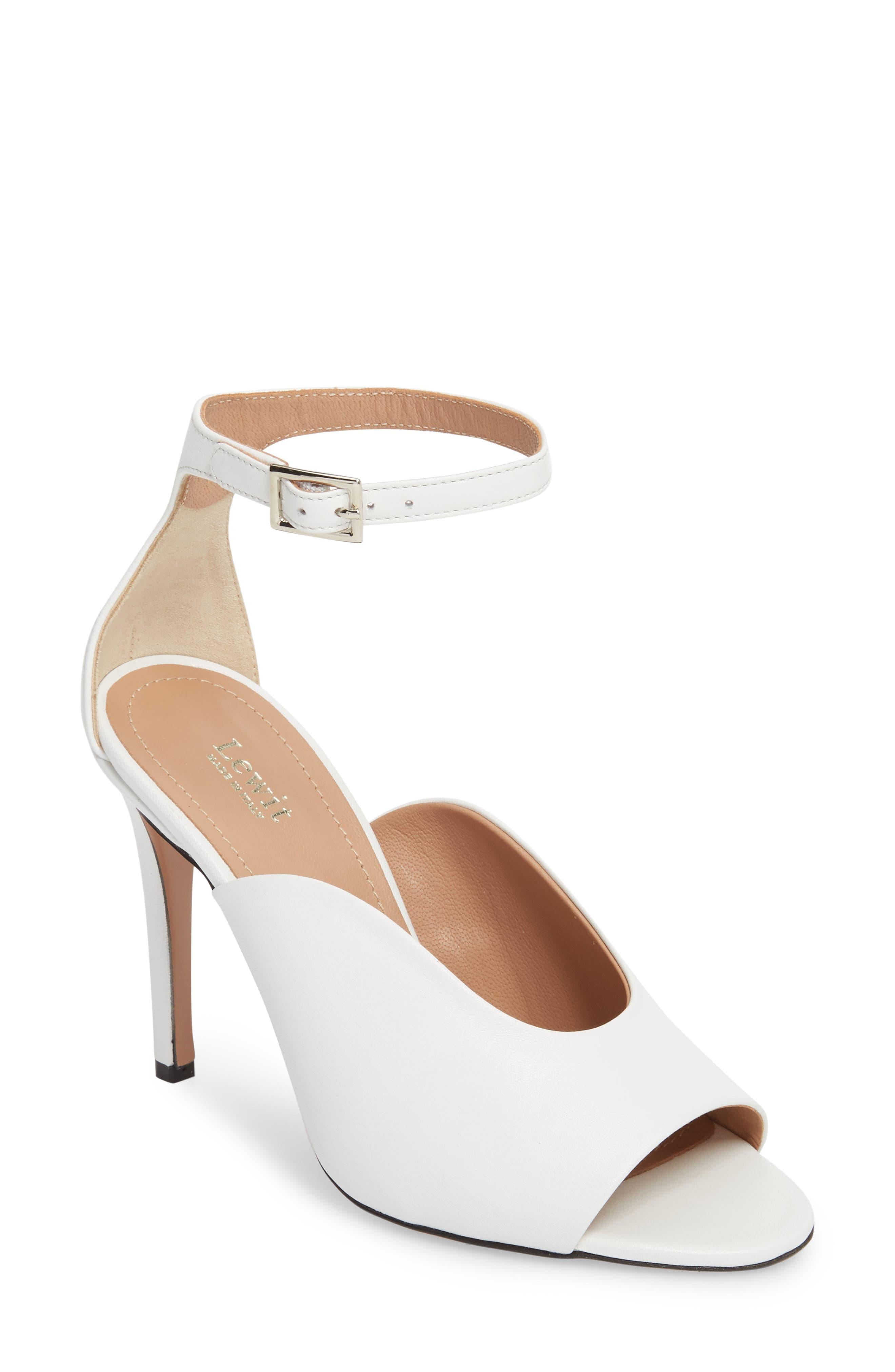 Rosalia Halo Strap Sandal,                         Main,                         color, White Leather