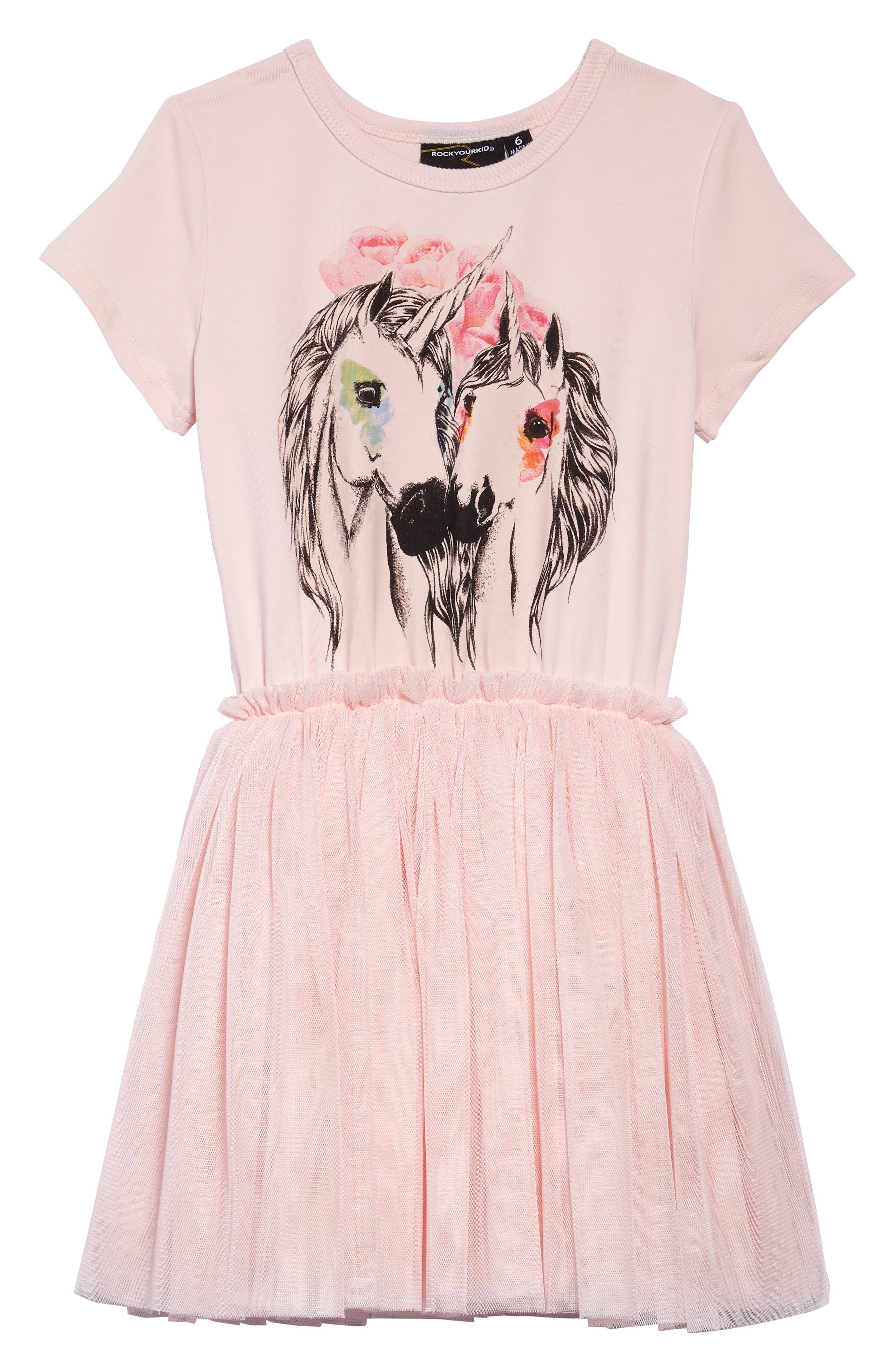 Unicorn Love Circus Dress,                         Main,                         color, Pink