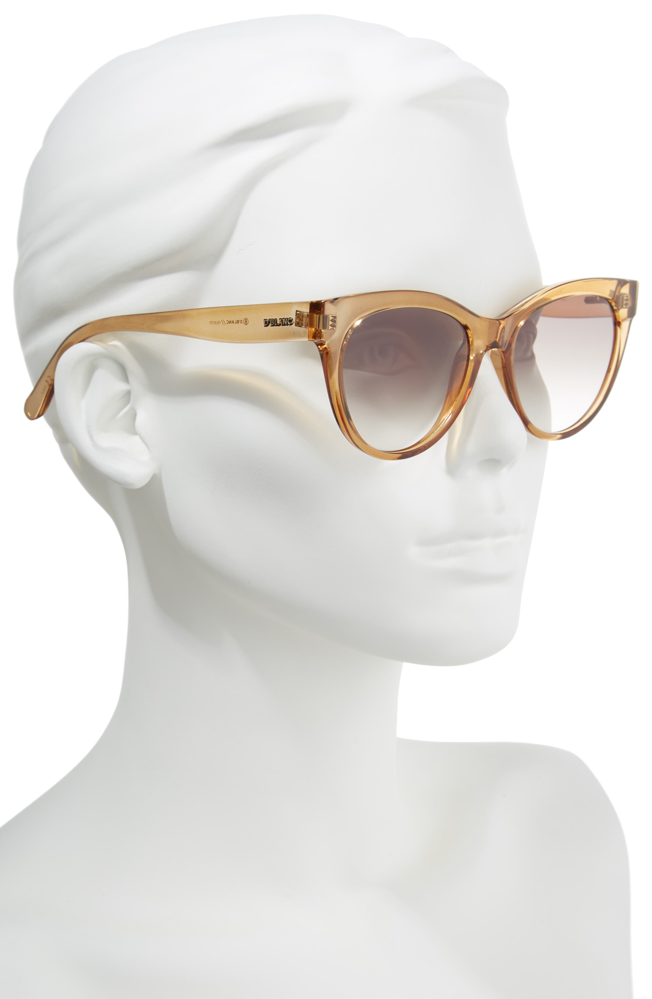 D'BLANC Felicity 54mm Cat Eye Sunglasses,                             Alternate thumbnail 2, color,                             Chai Gloss