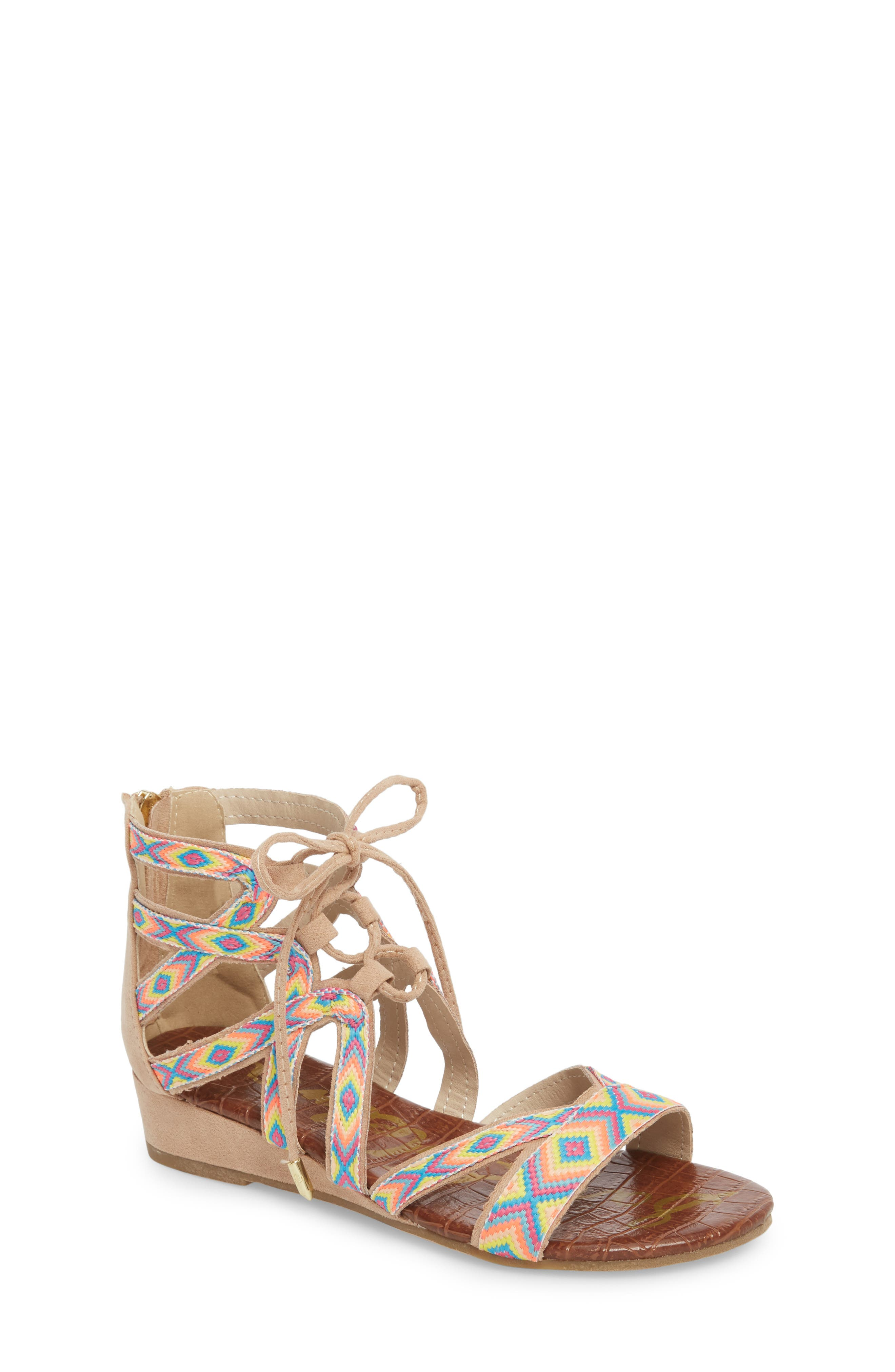Danica Friendship Ghillie Wedge Sandal,                         Main,                         color, Natural Faux Suede